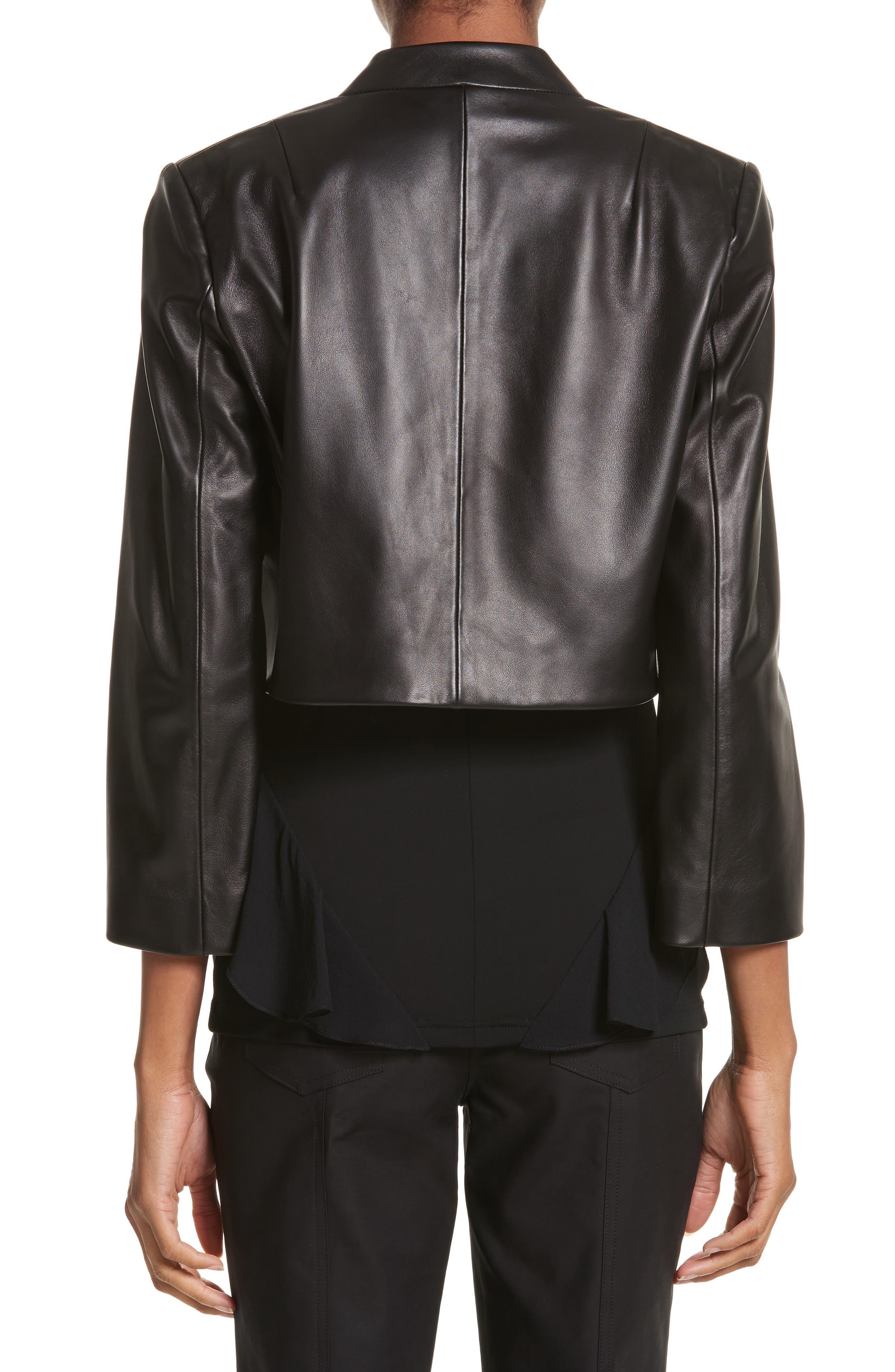 Plongé Leather Bolero Jacket,                             Alternate thumbnail 2, color,                             Black