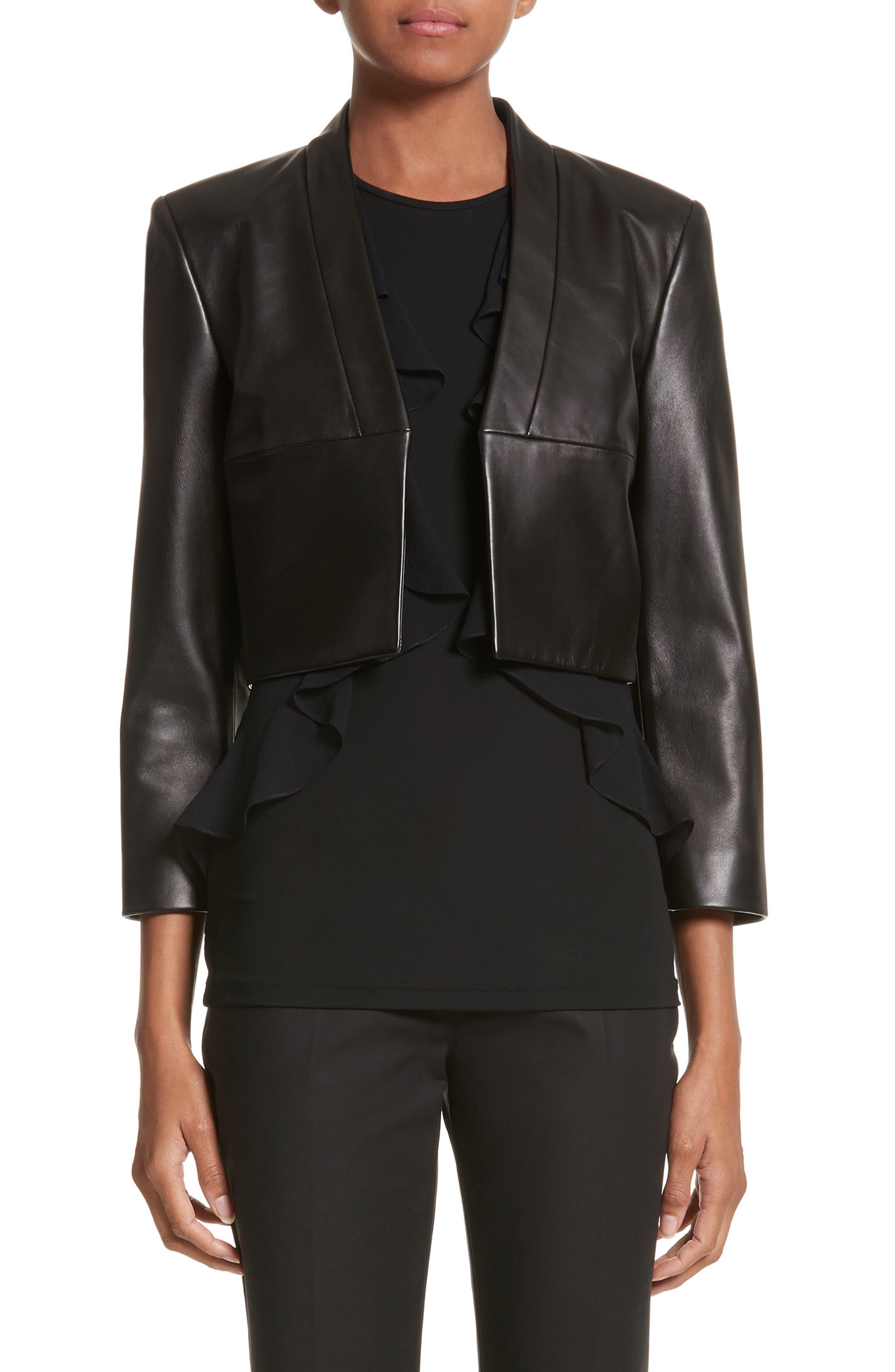 Plongé Leather Bolero Jacket,                             Main thumbnail 1, color,                             Black