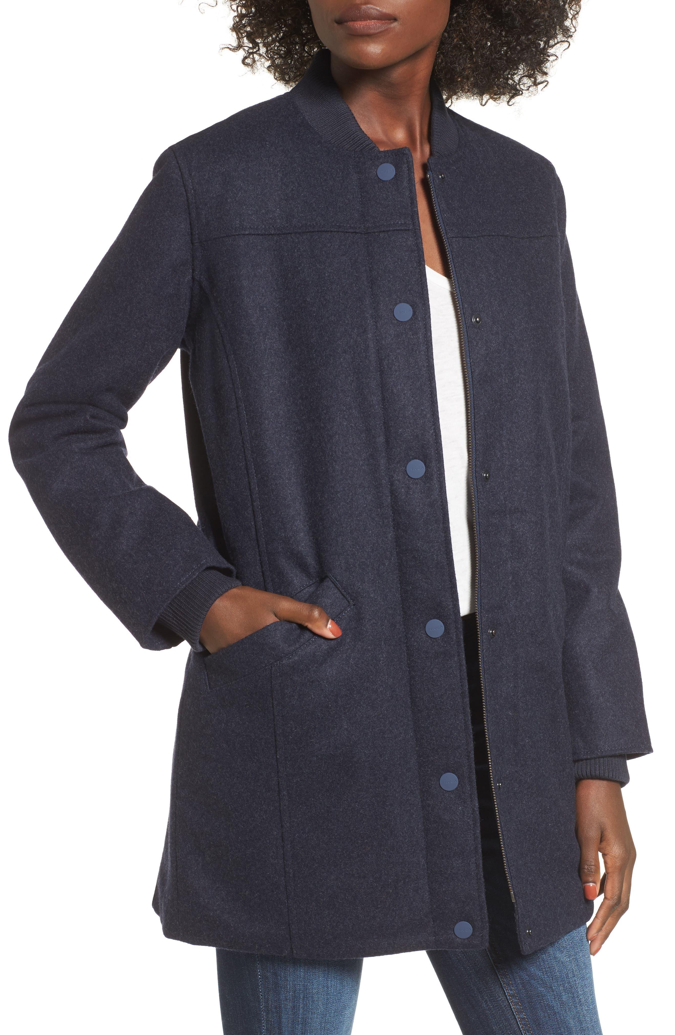 Mélange Bomber Jacket,                         Main,                         color, Federal Blue