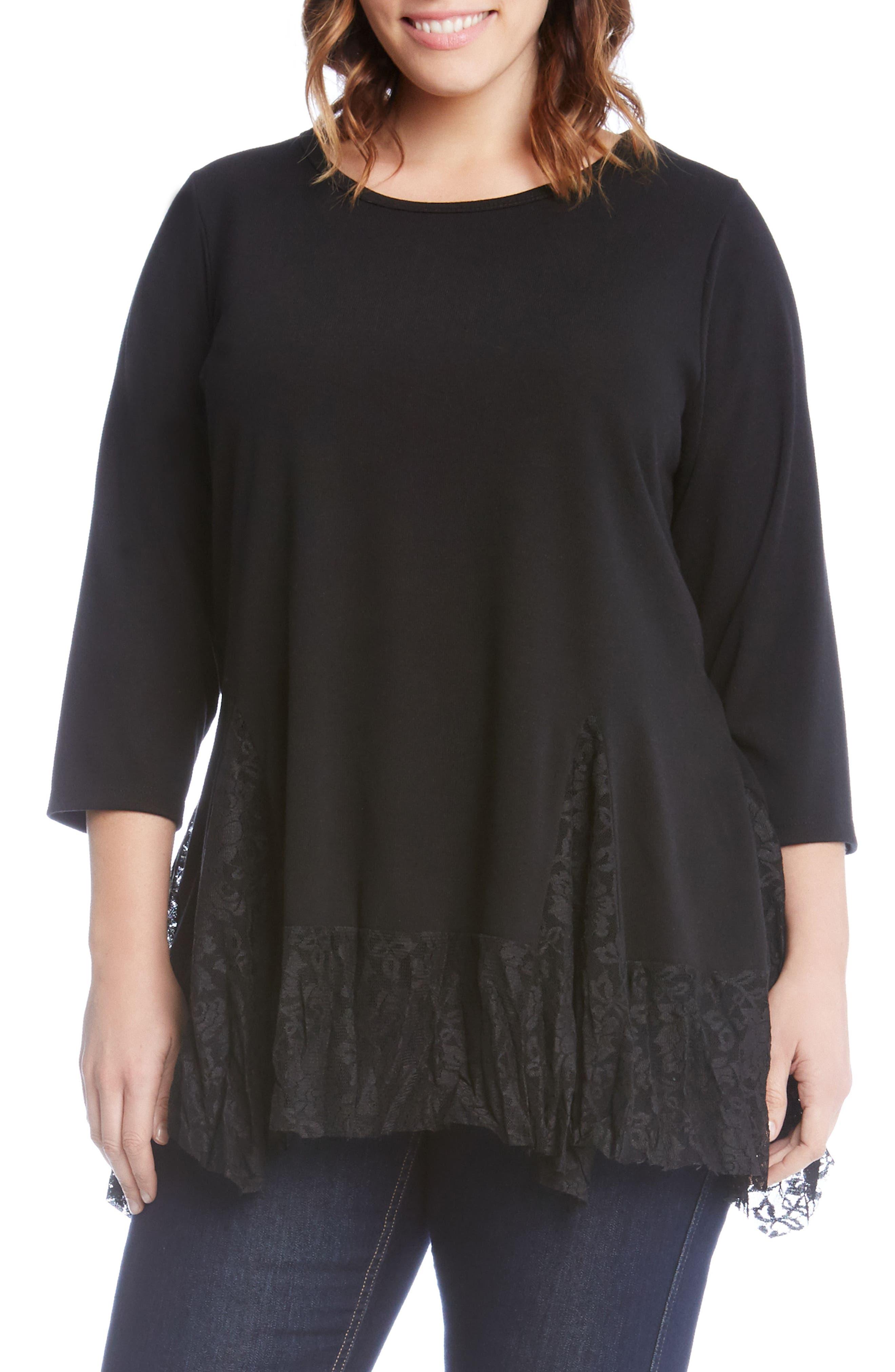 Main Image - Karen Karen Lace Inset Sweater (Plus Size)