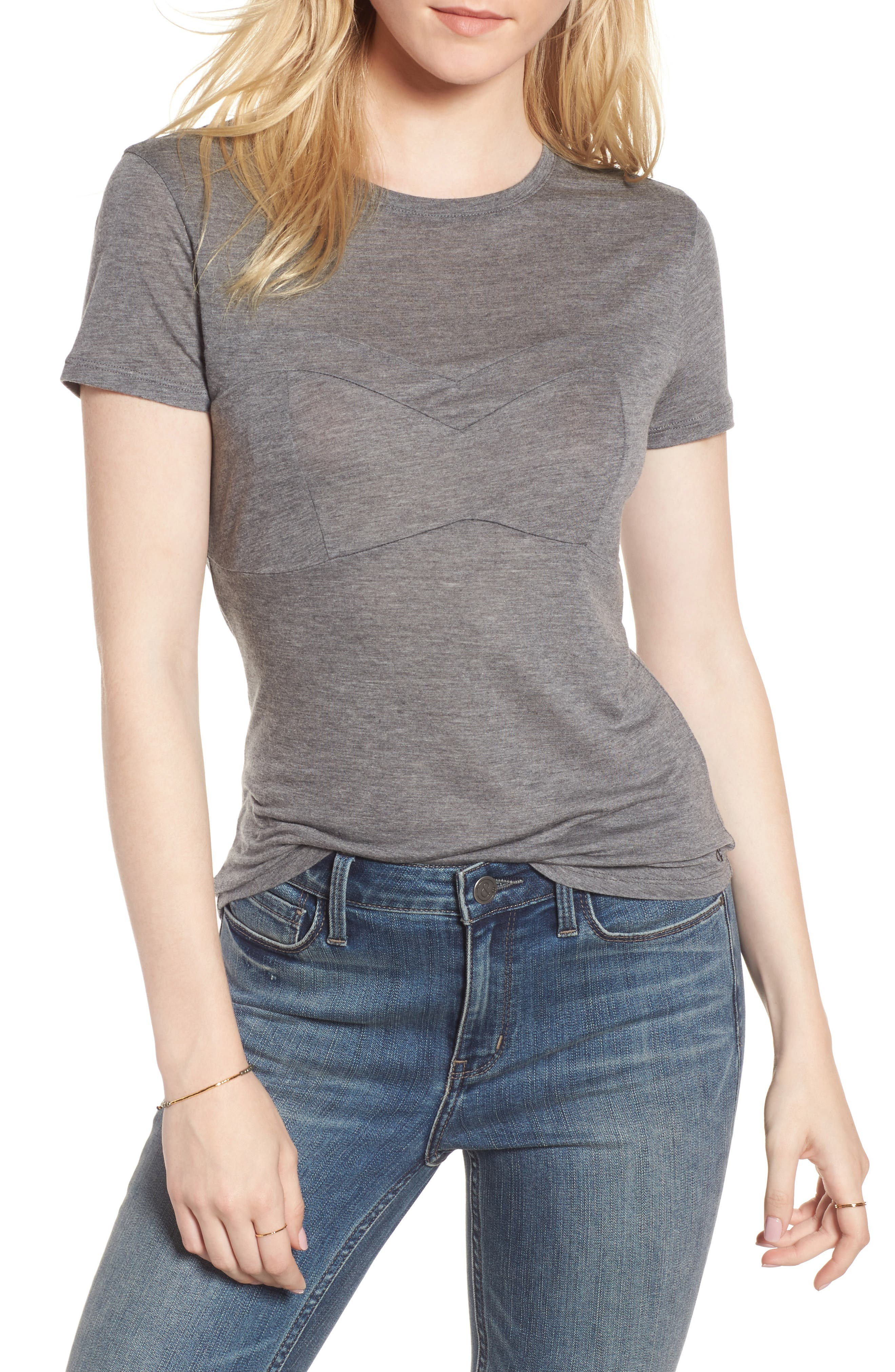 Bust Detail Tee,                         Main,                         color, Grey Dark Heather