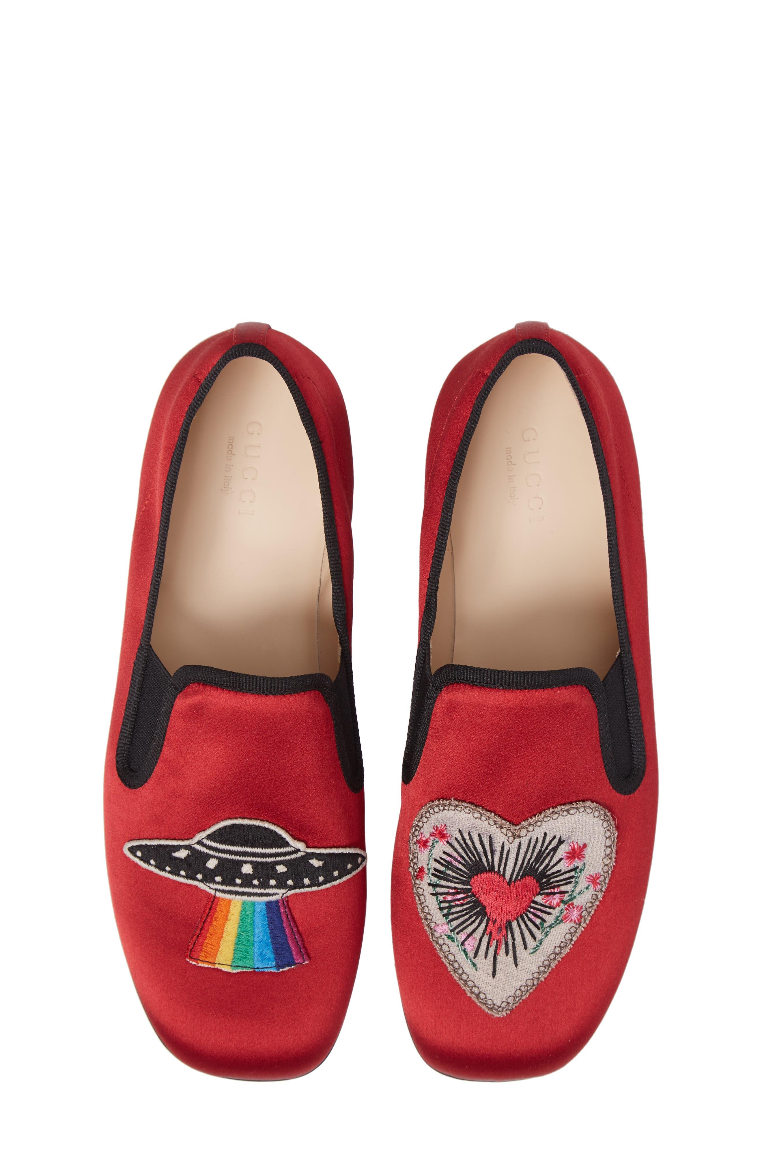 Nannie Appliqué Loafer Flat,                             Alternate thumbnail 5, color,                             Red