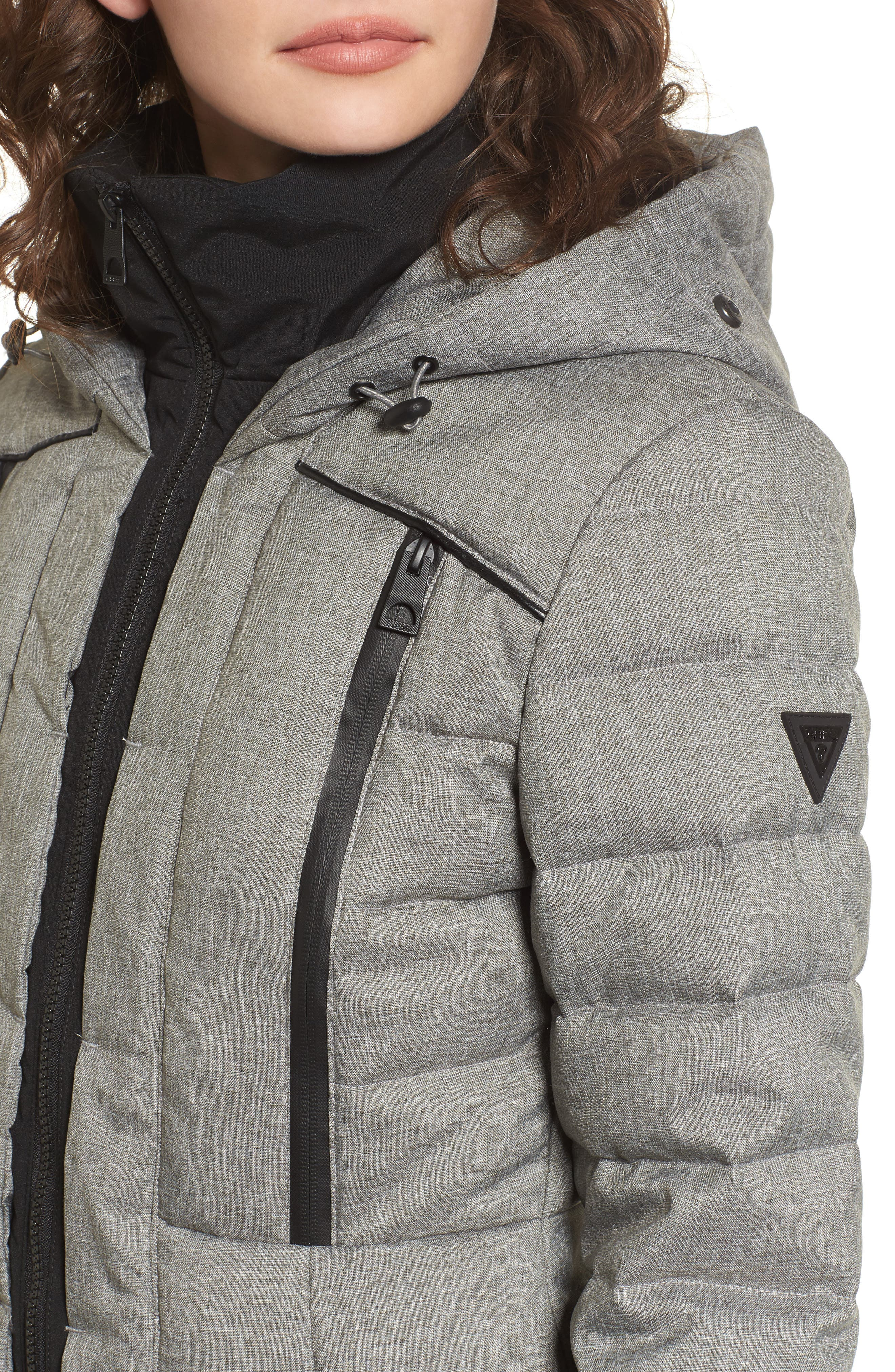 Quilted Hooded Puffer Coat with Faux Fur Trim,                             Alternate thumbnail 4, color,                             Grey Melange