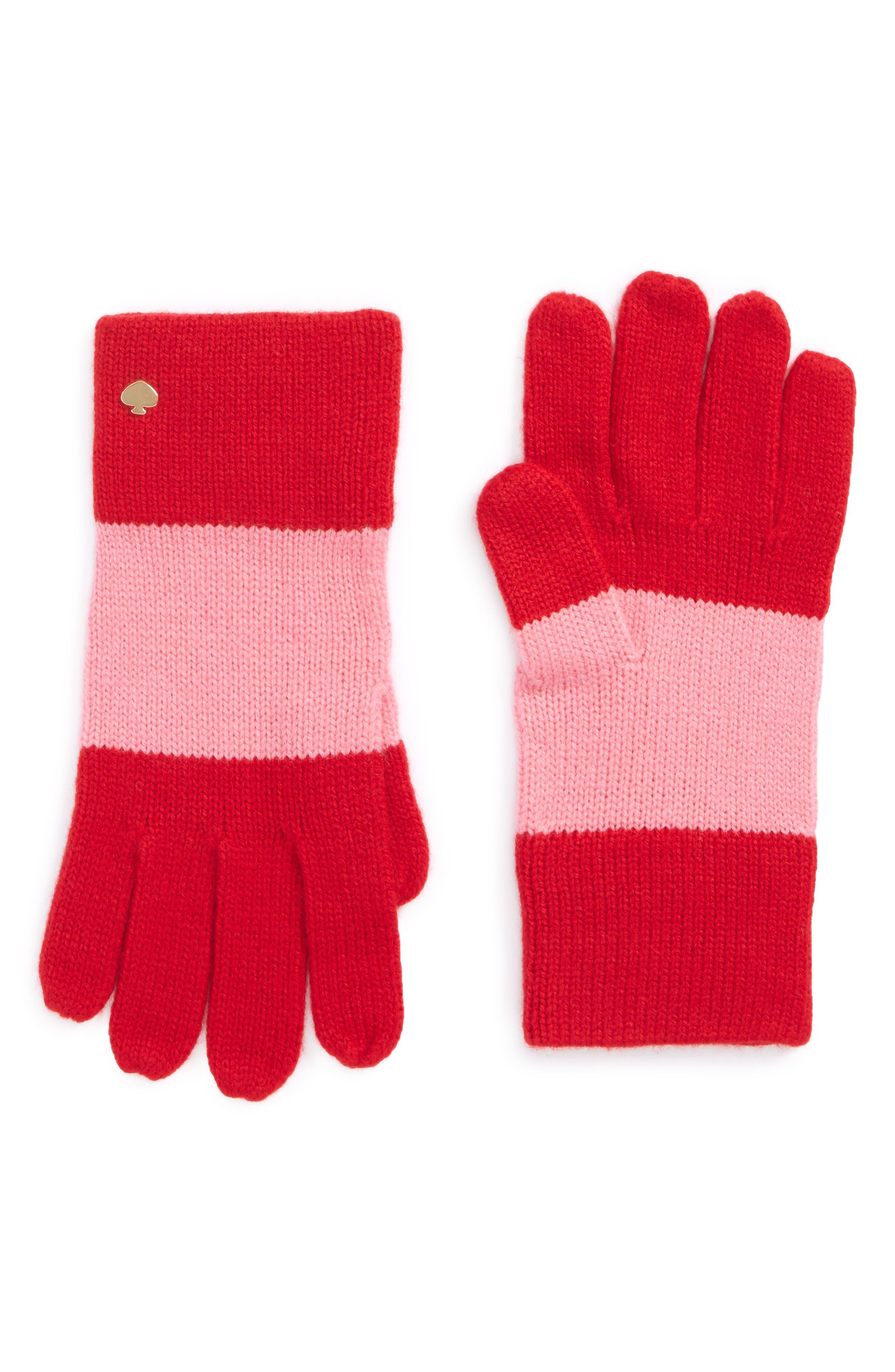 colorblock knit gloves,                             Main thumbnail 1, color,                             Fleur De Lis/Charm Red