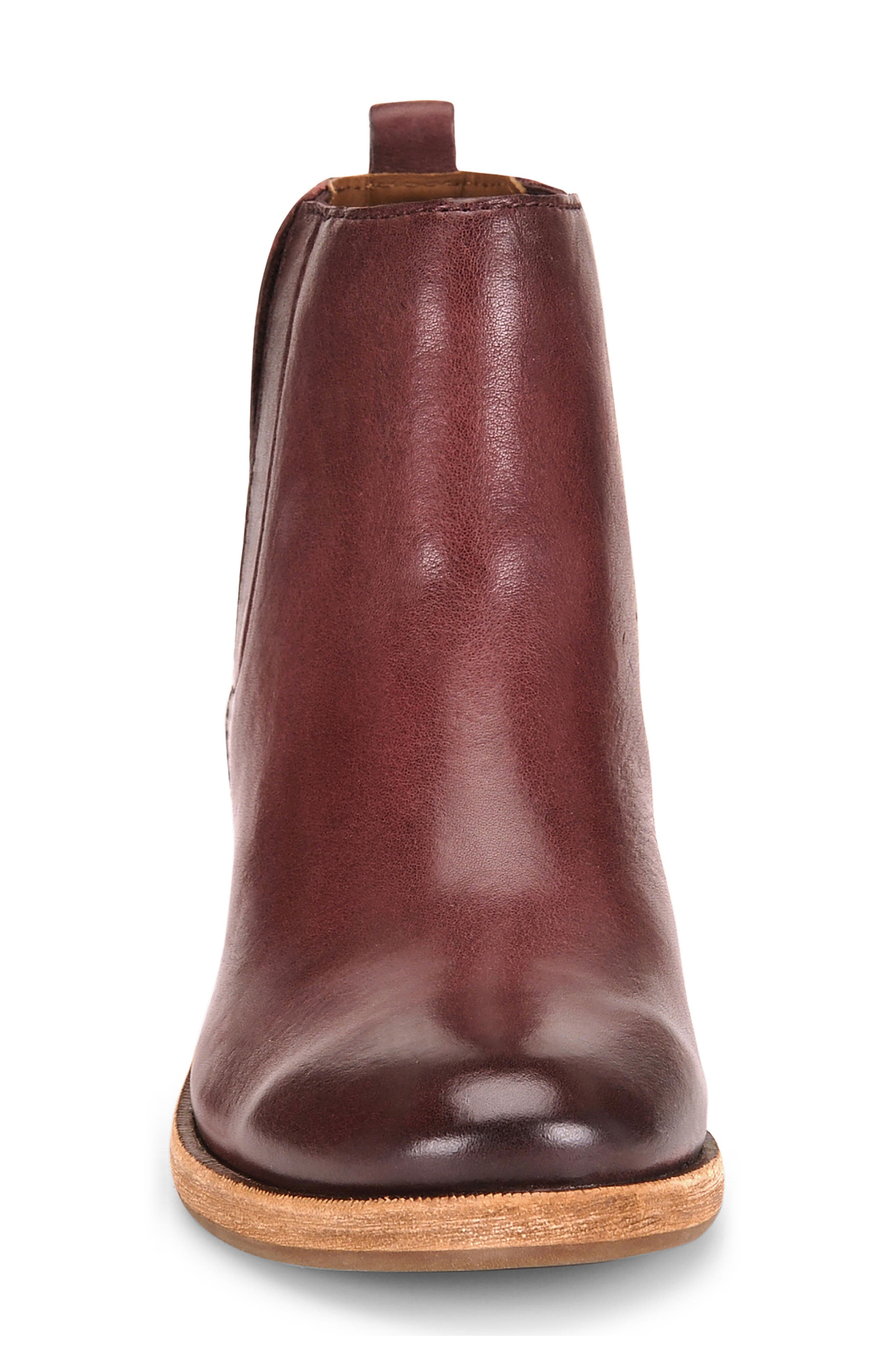 Mindo Chelsea Bootie,                             Alternate thumbnail 4, color,                             Burgundy Leather