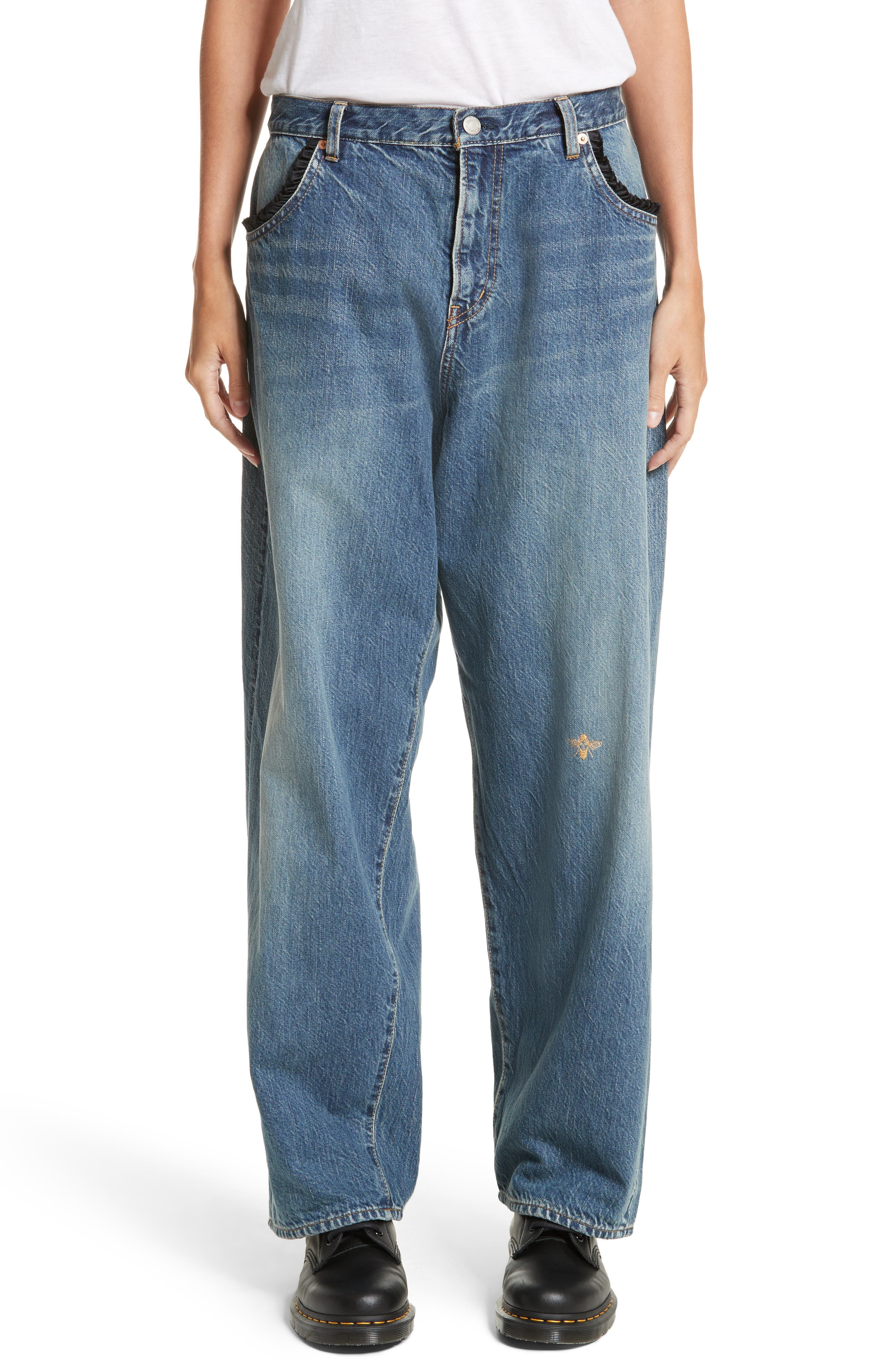 Undercover Embroidered Bee Jeans