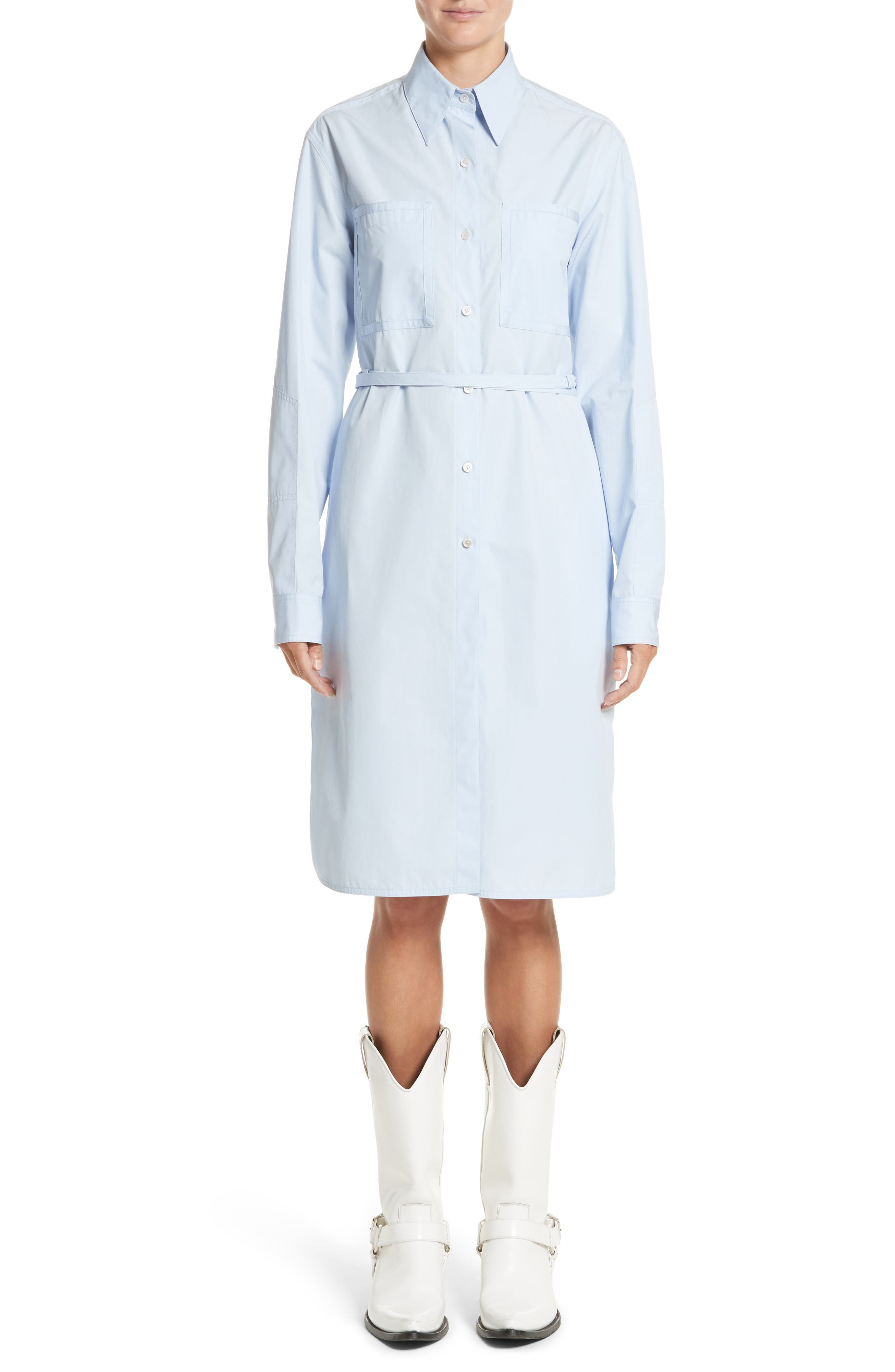 Alternate Image 1 Selected - CALVIN KLEIN 205W39NYC Lace-Up Back Cotton Poplin Dress