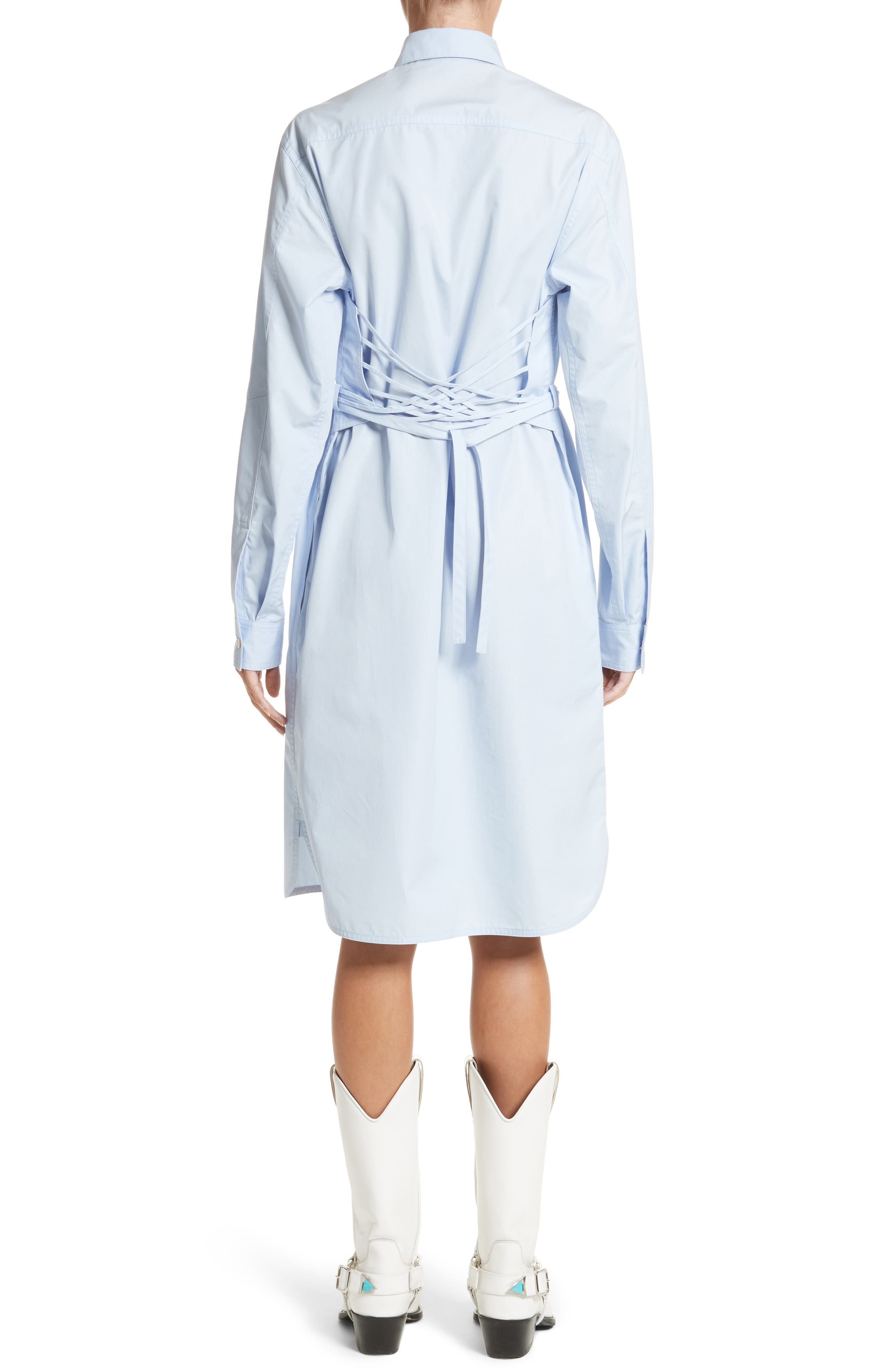 Alternate Image 2  - CALVIN KLEIN 205W39NYC Lace-Up Back Cotton Poplin Dress