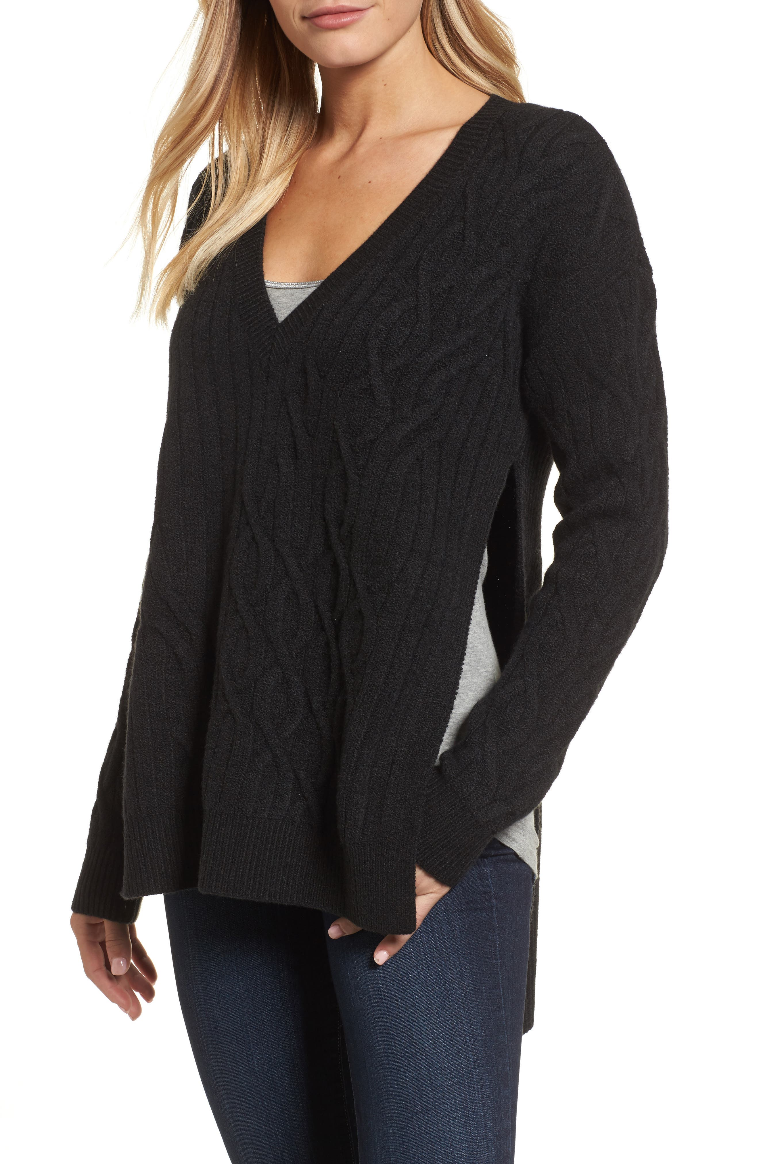 Irregular Cable Knit Sweater,                             Main thumbnail 1, color,                             Black