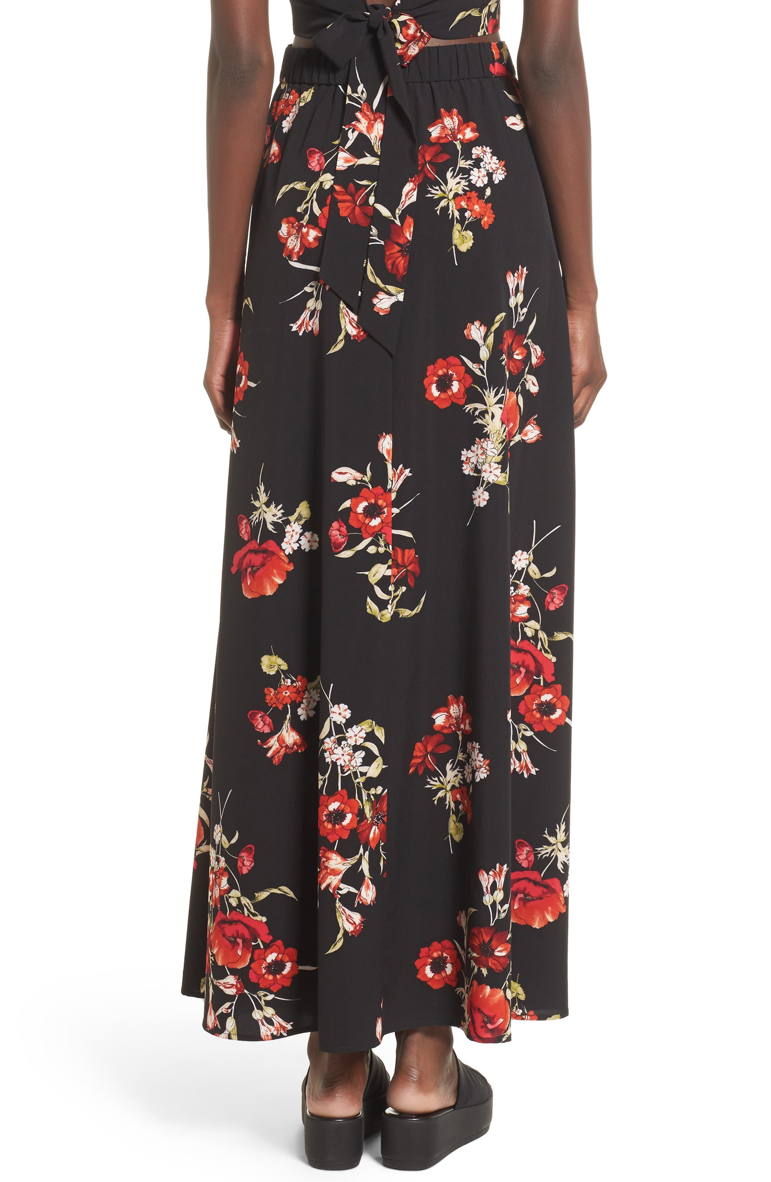 Maxi Skirt,                             Alternate thumbnail 3, color,                             Black Floral