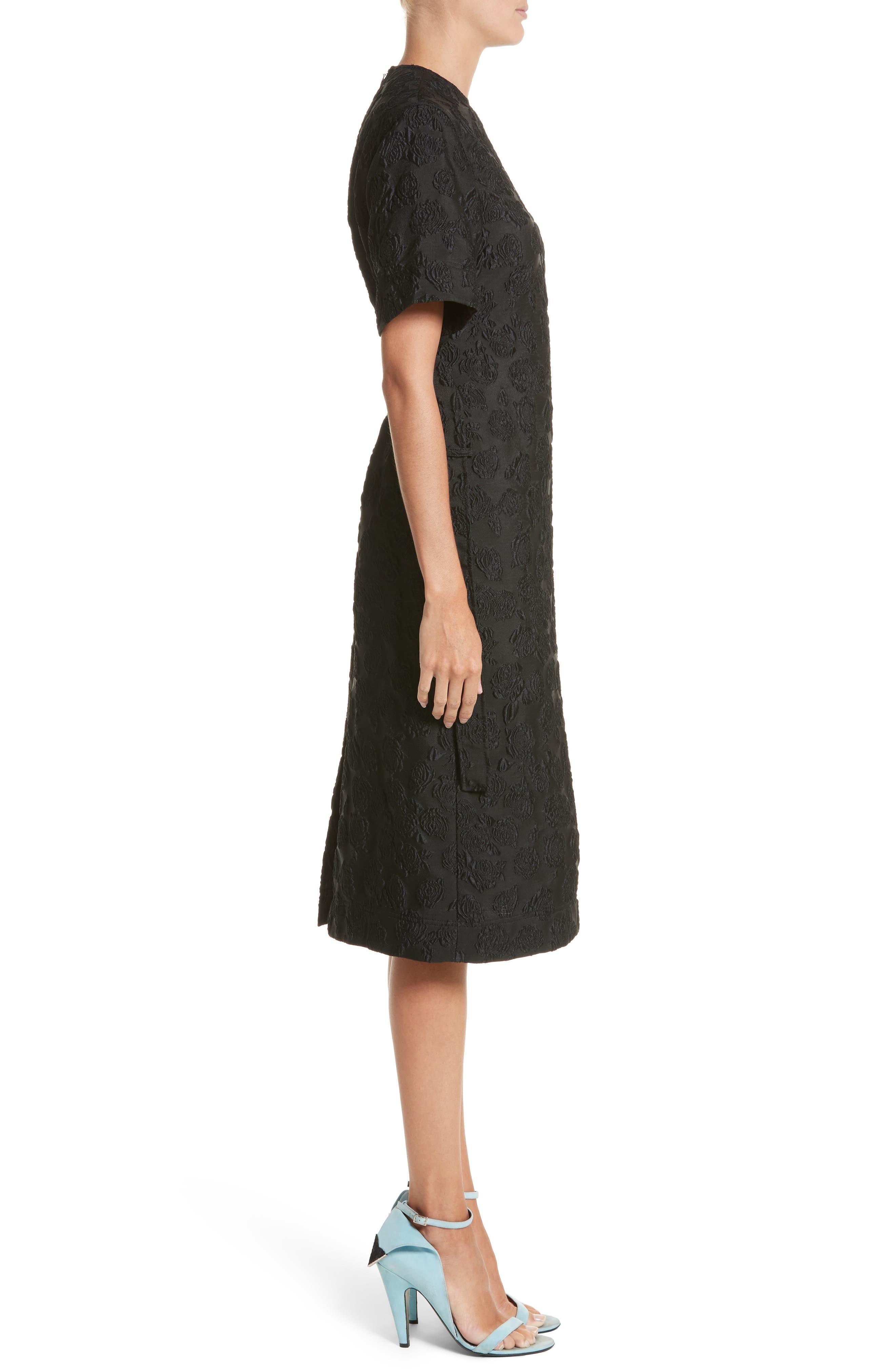 Rose Jacquard Dress,                             Alternate thumbnail 3, color,                             Black