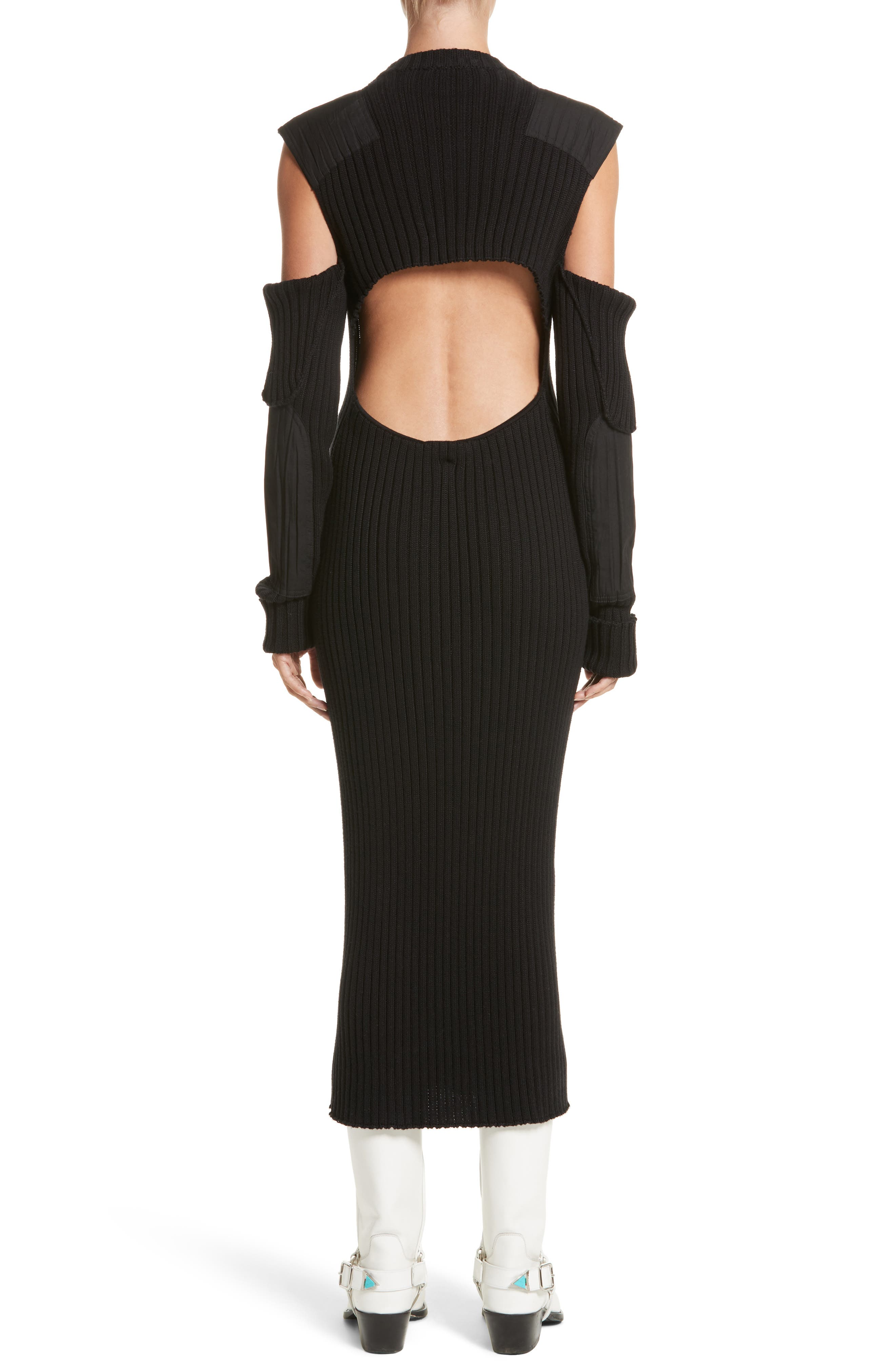 Rib Knit Cold Shoulder Dress,                             Alternate thumbnail 2, color,                             Black