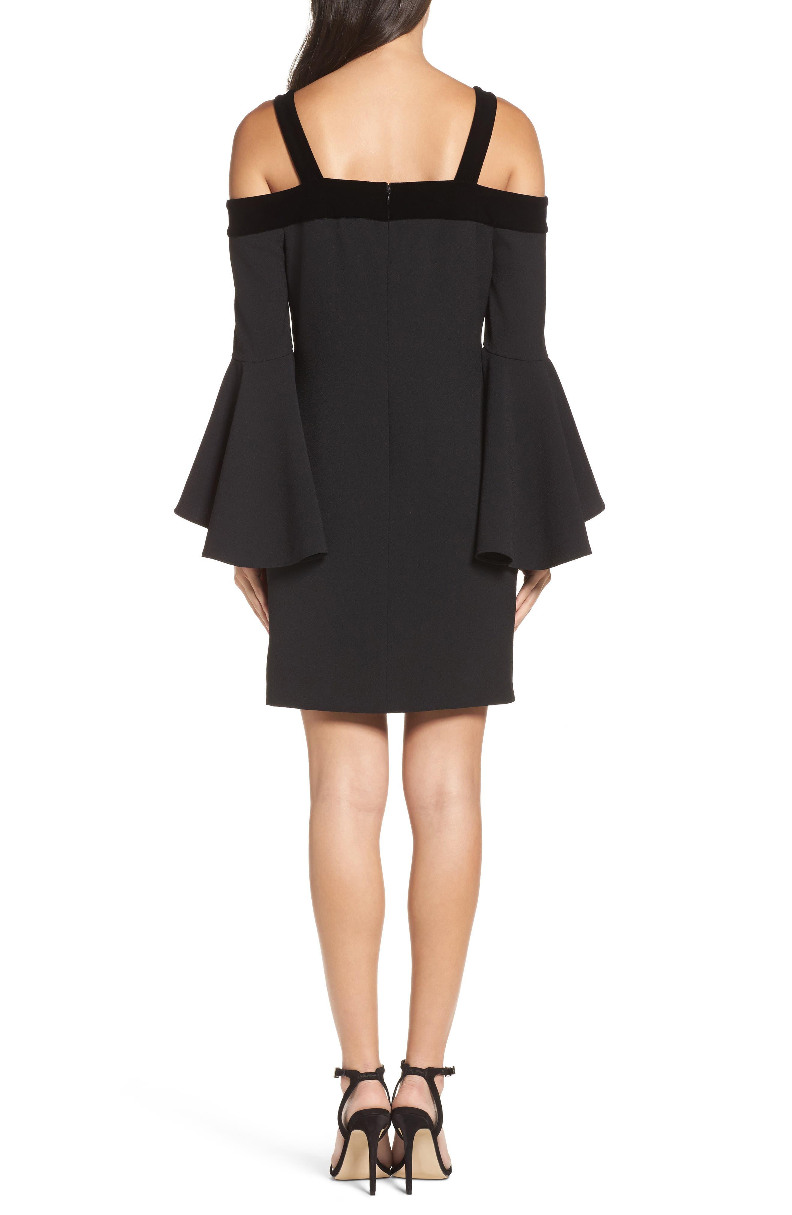 Bell Sleeve Cold Shoulder Shift Dress,                             Alternate thumbnail 2, color,                             Black
