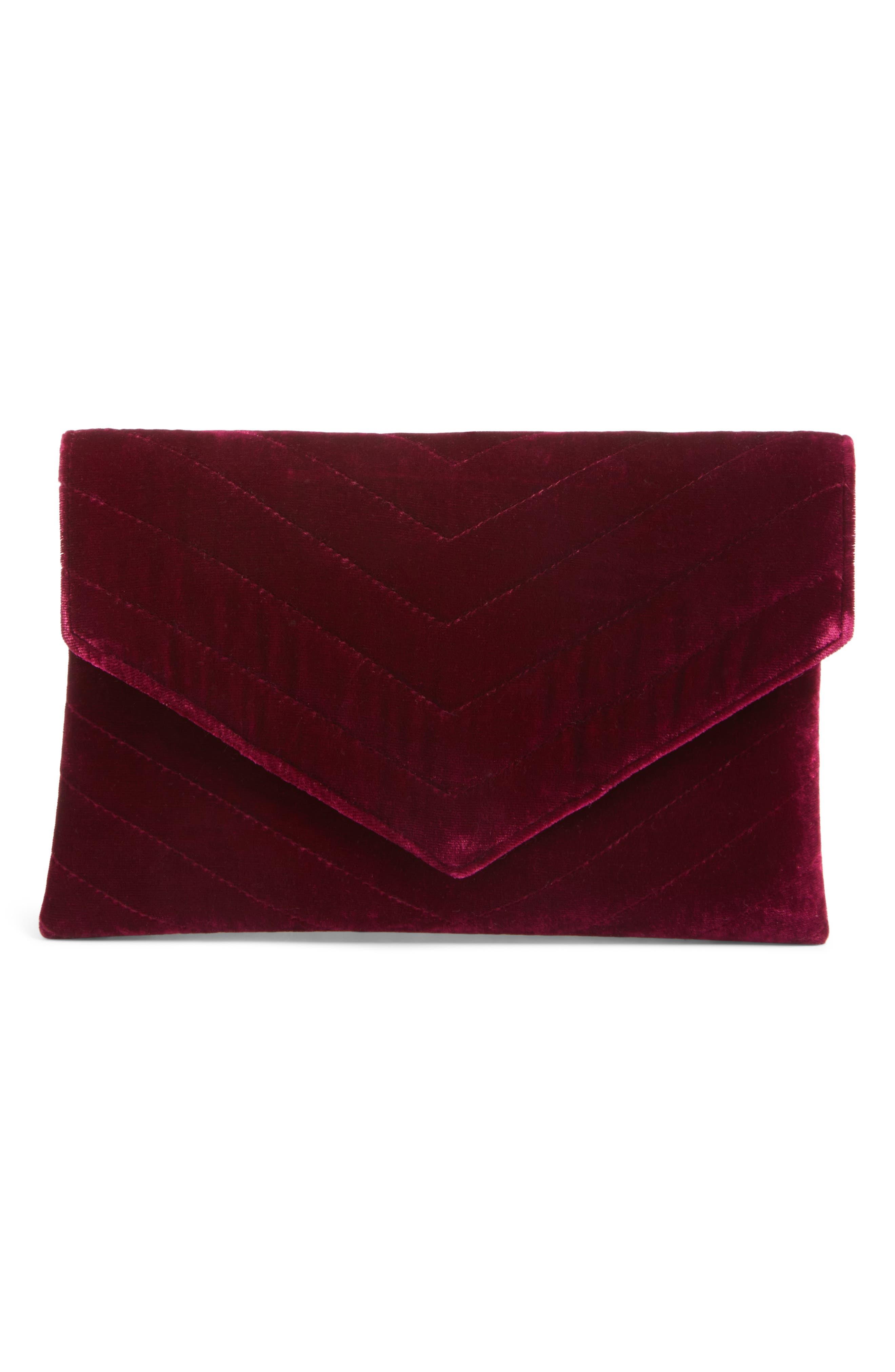 Alexis Velvet Envelope Clutch,                         Main,                         color, Magenta