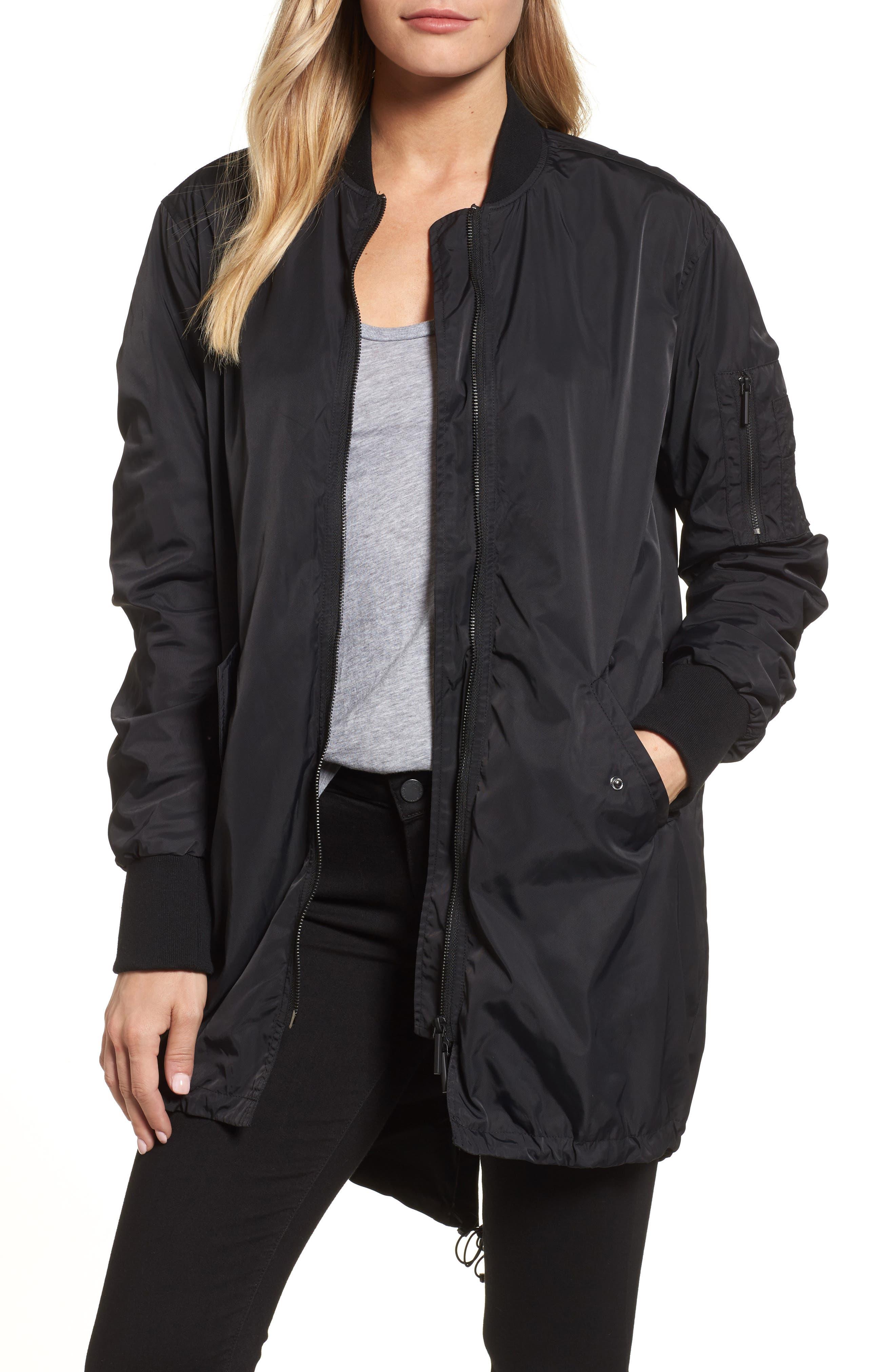 Bomber Anorak Jacket,                         Main,                         color, Black