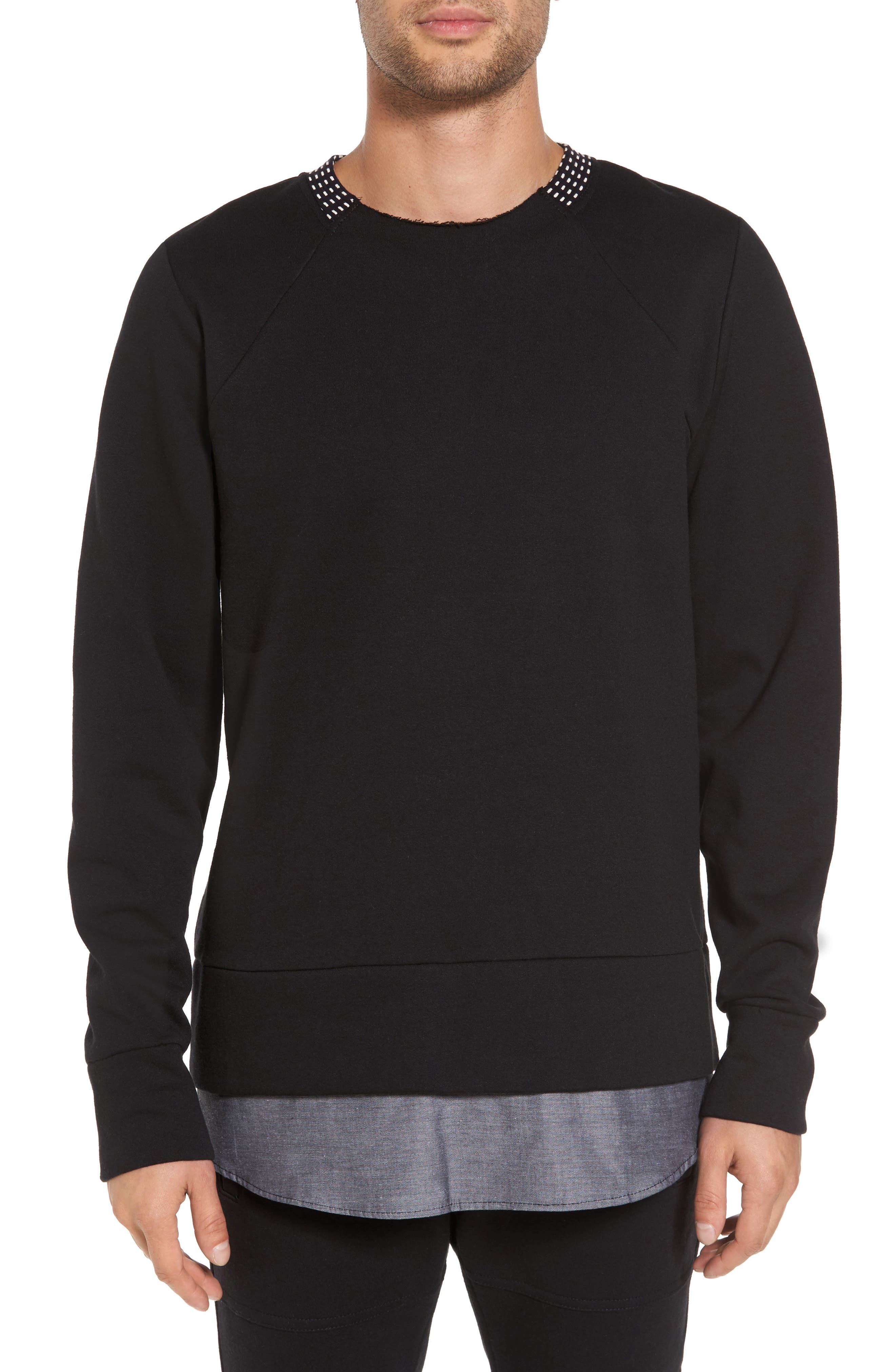 Double Layer Pullover,                         Main,                         color, Jet Black