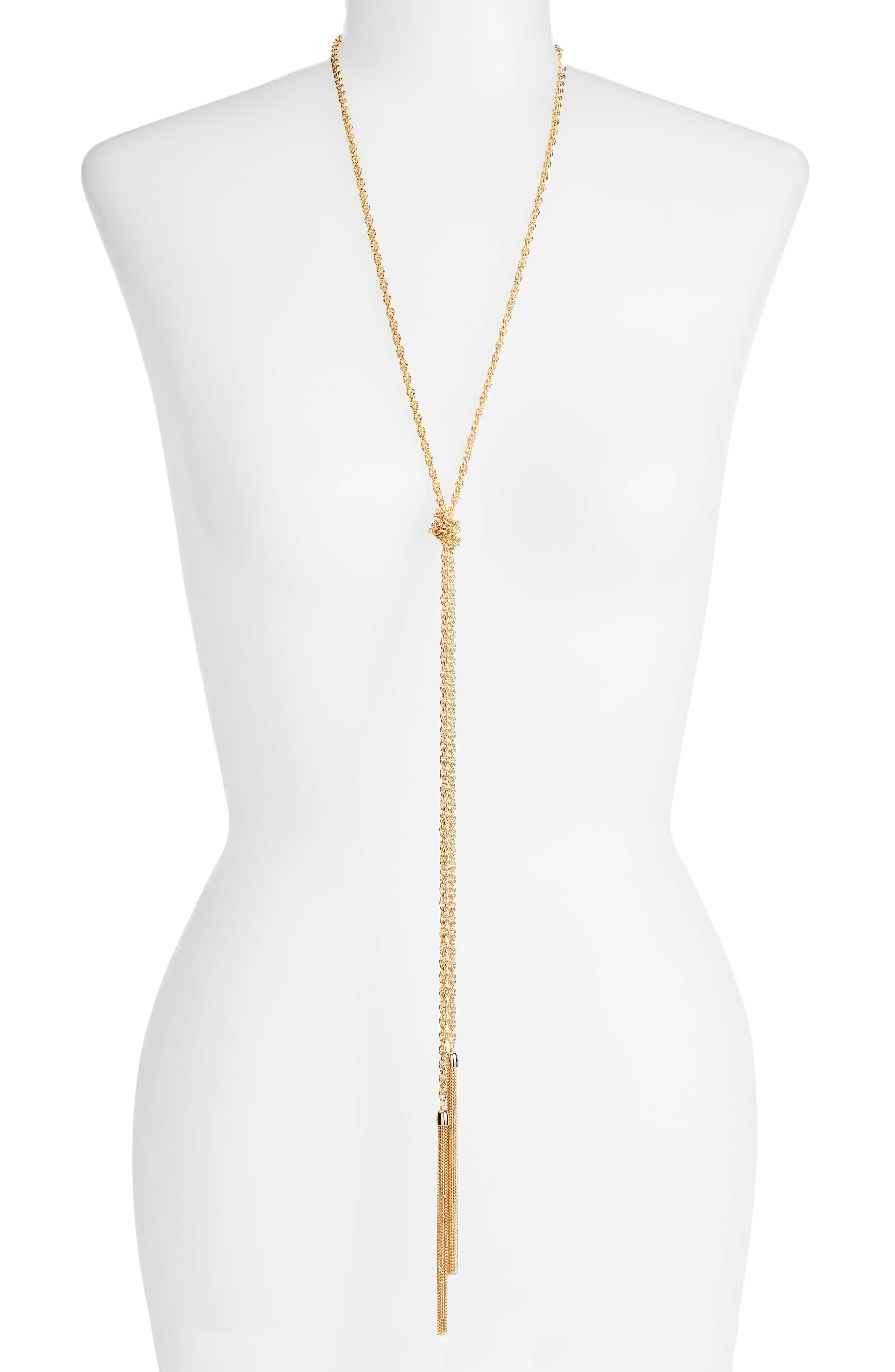 Main Image - Halogen® Fine Chain Tassel Lariat Necklace