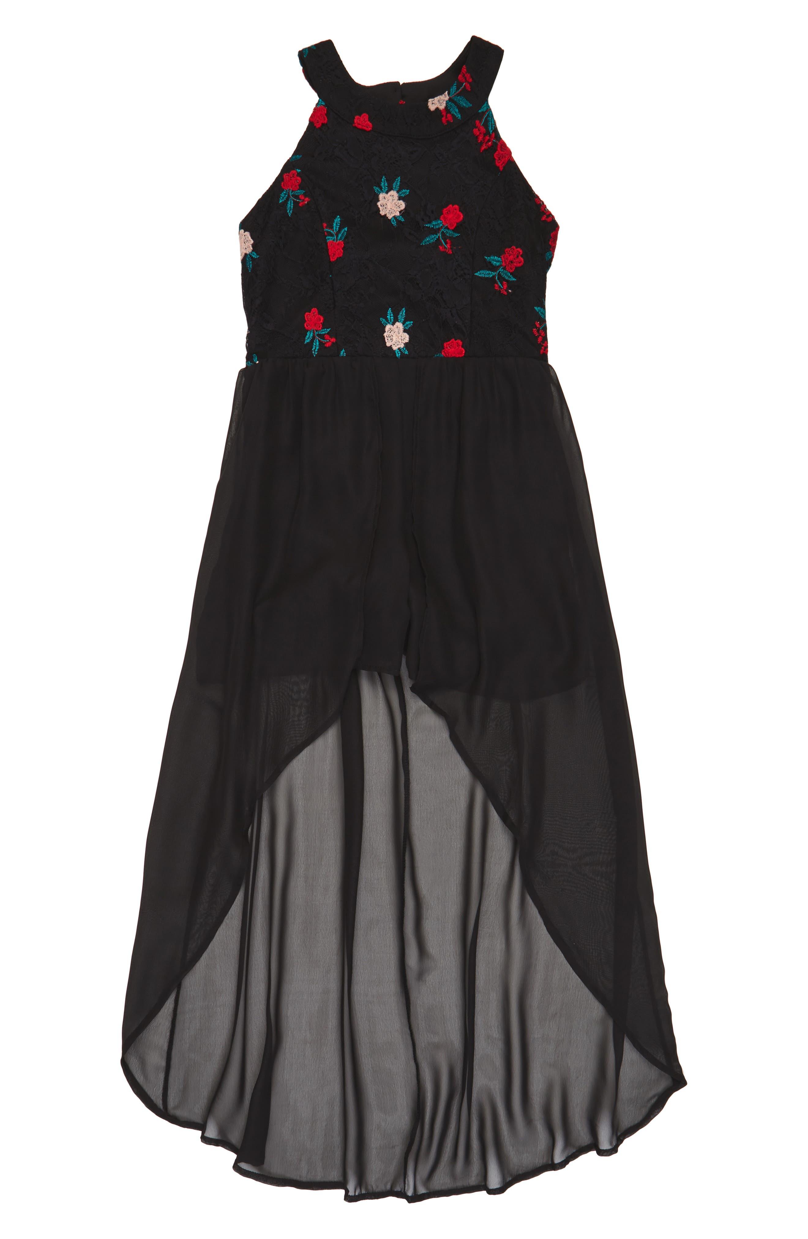 Embroidered Lace Overlay Romper,                         Main,                         color, Black/ Multi