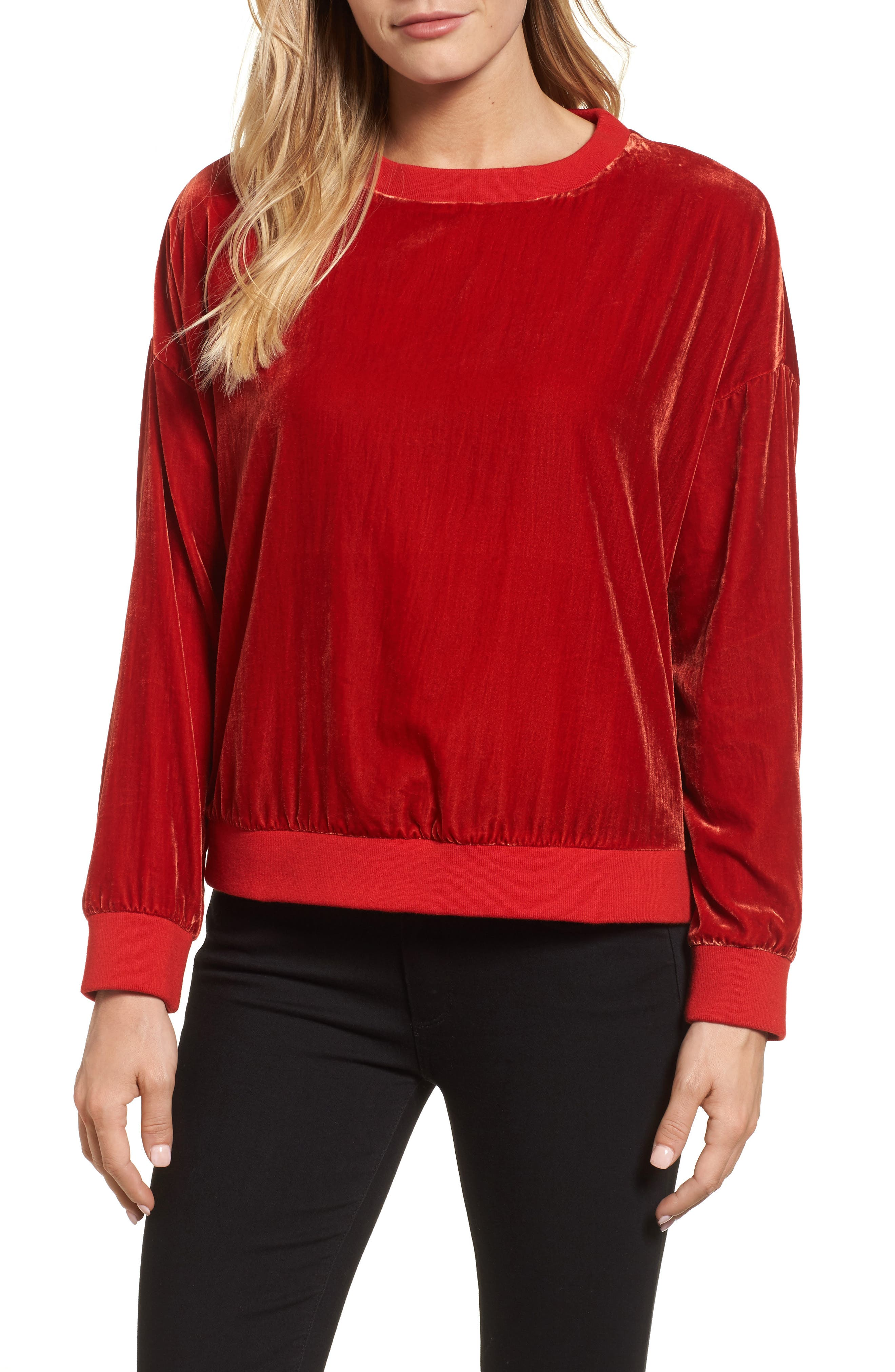 Alternate Image 1 Selected - Kenneth Cole New York Zipper Velvet Sweatshirt