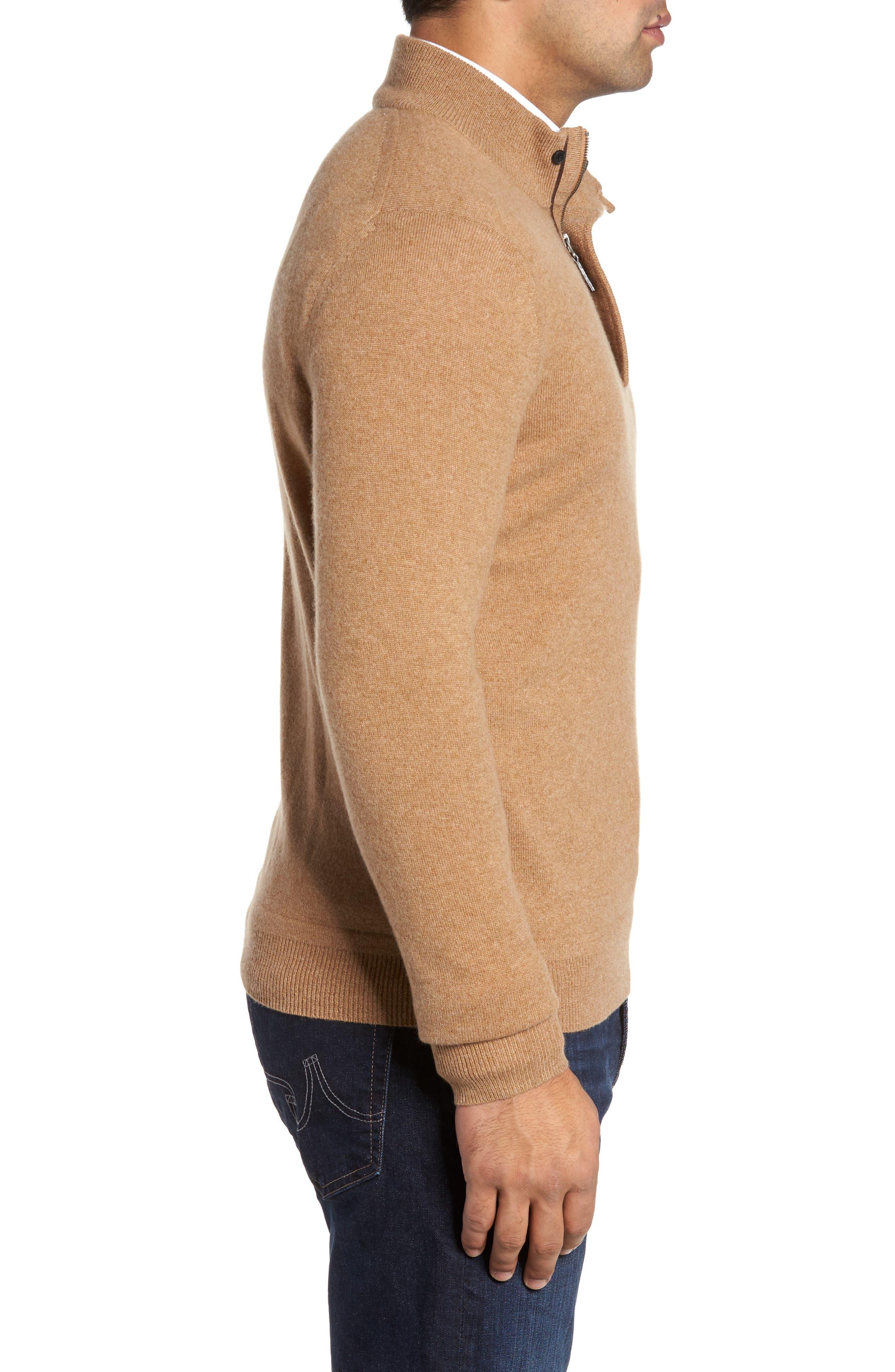 Cashmere Quarter Zip Sweater,                             Alternate thumbnail 3, color,                             Brown Bear