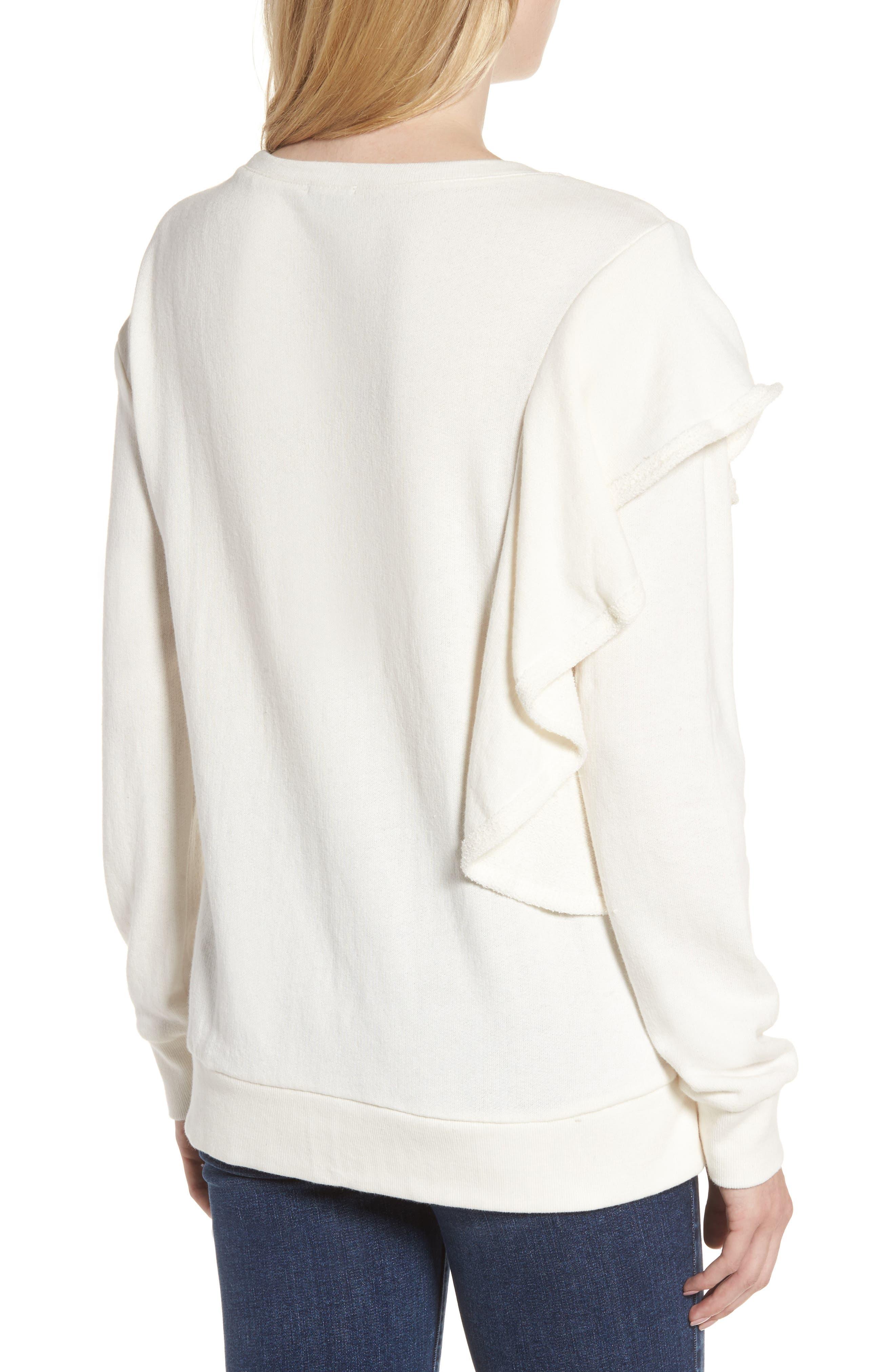 West Fourth Ruffle Sweatshirt,                             Alternate thumbnail 2, color,                             Off White