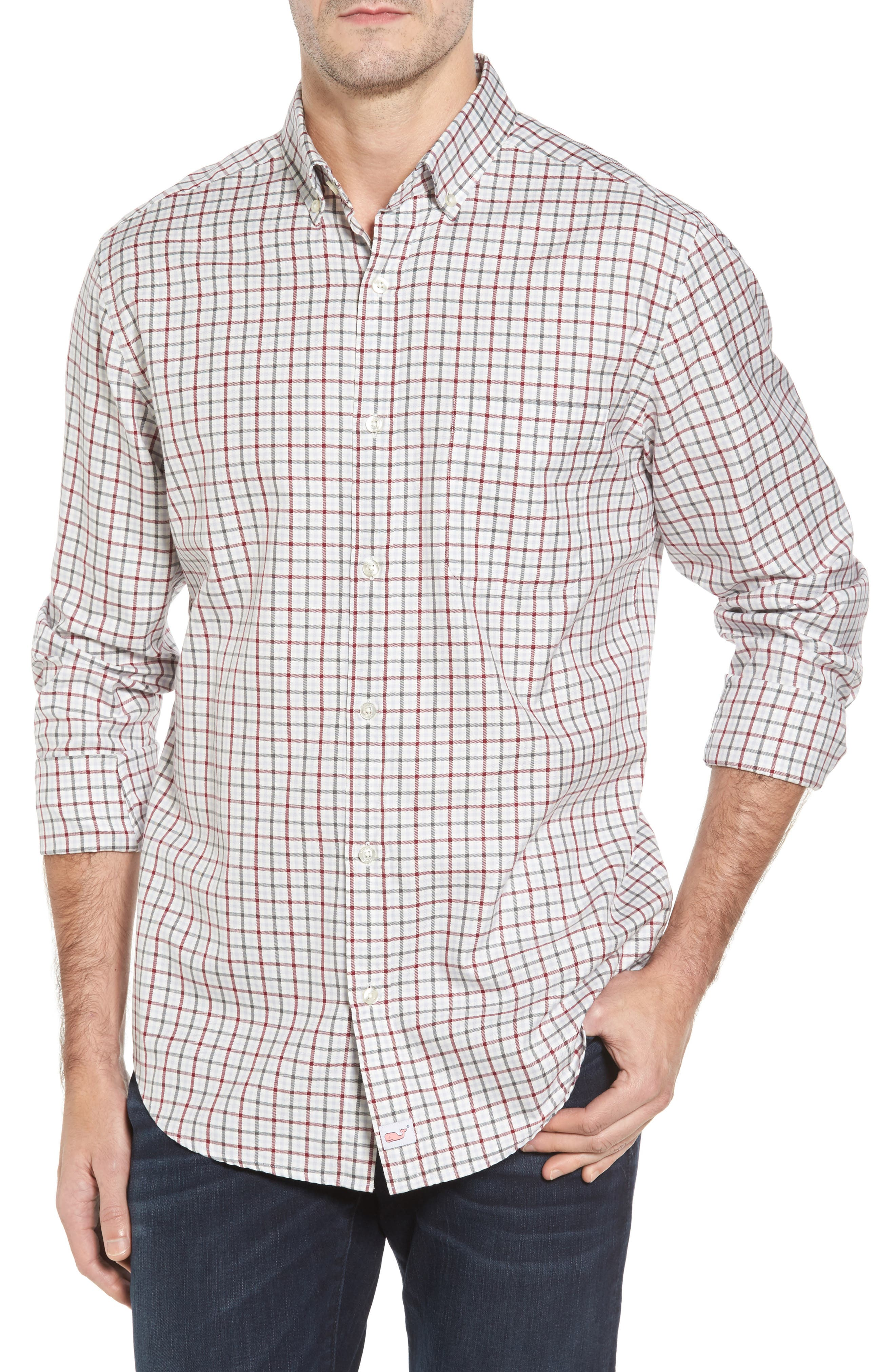 Classic Fit Tucker Cocktail Club Check Sport Shirt,                         Main,                         color, Red Wine
