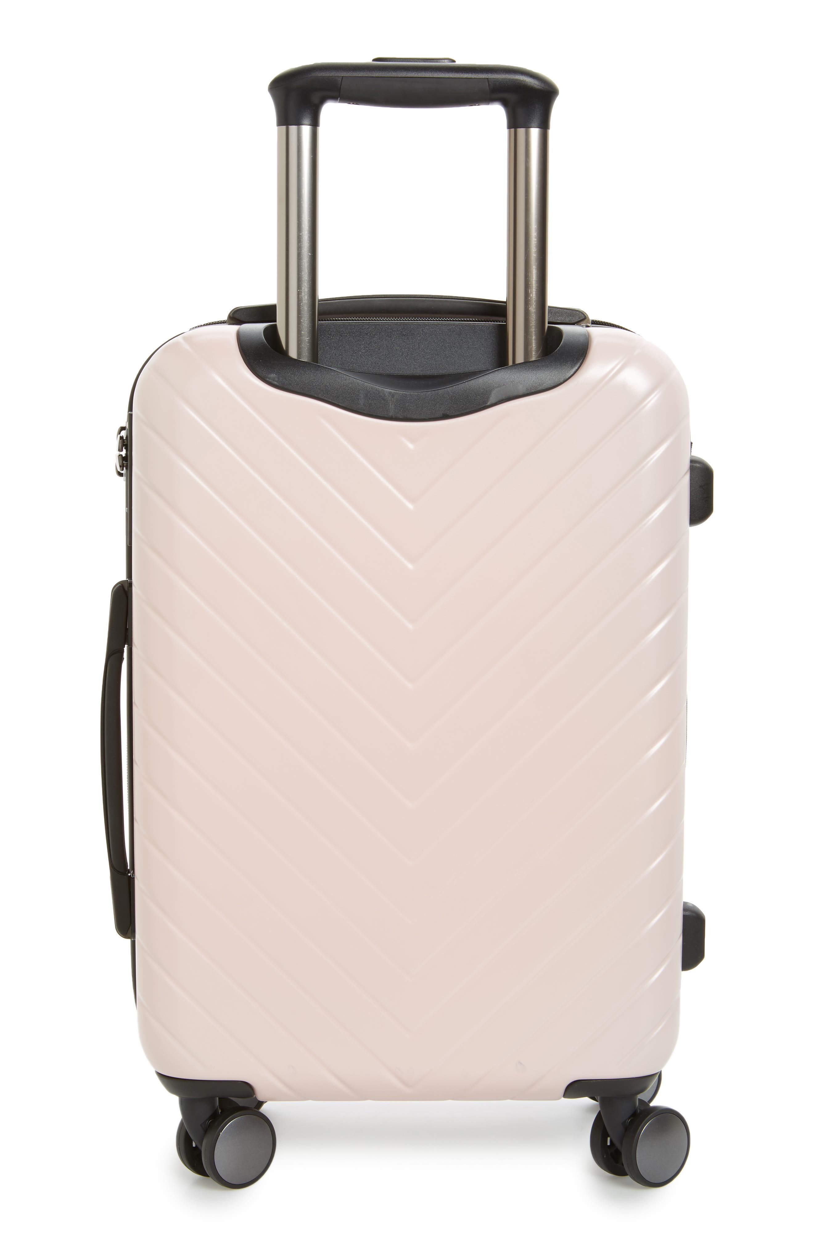 Chevron 18-Inch Spinner Carry-On,                             Alternate thumbnail 3, color,                             Pink Hero
