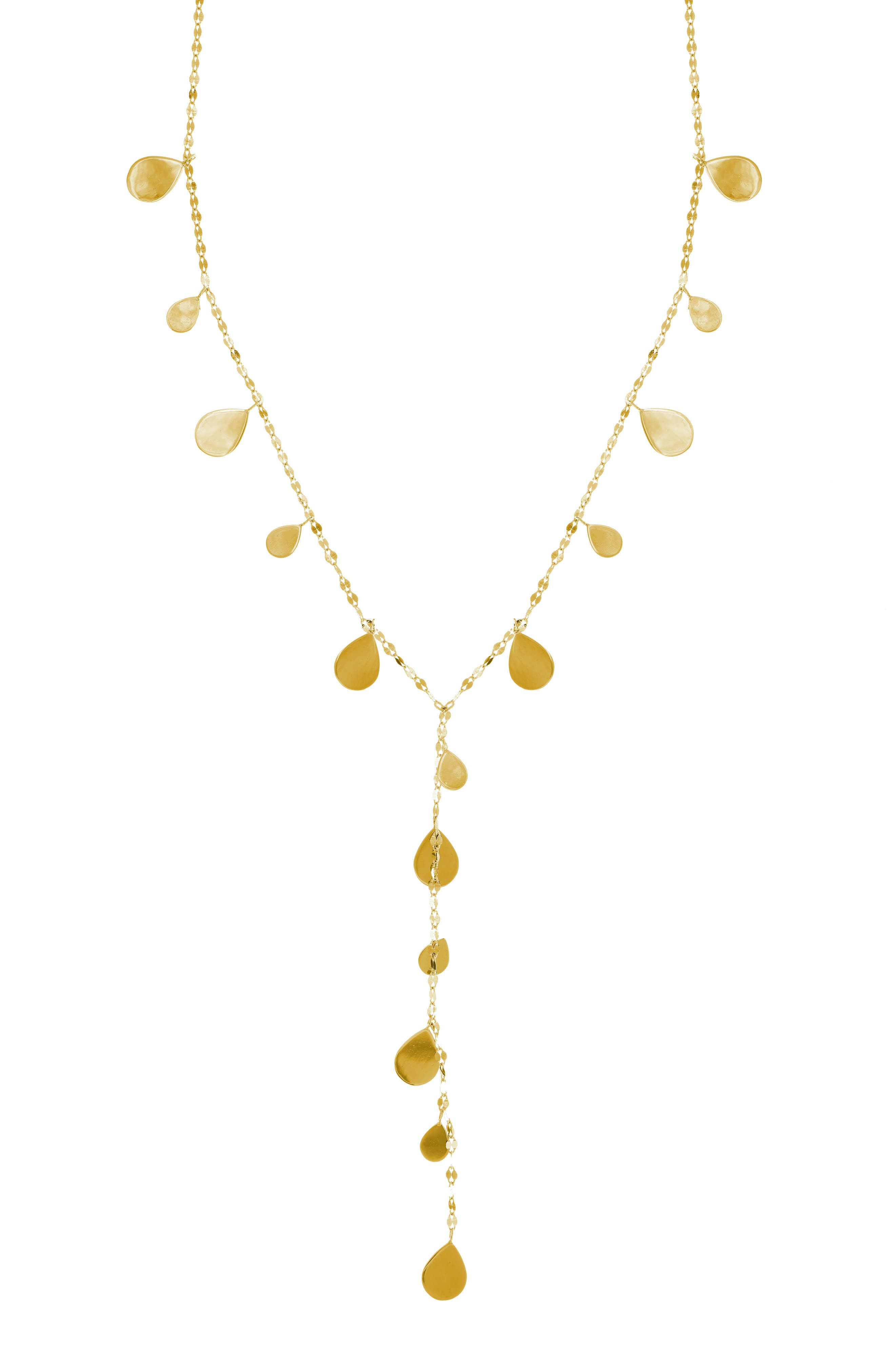 Teardrop Y-Necklace,                         Main,                         color, Yellow Gold