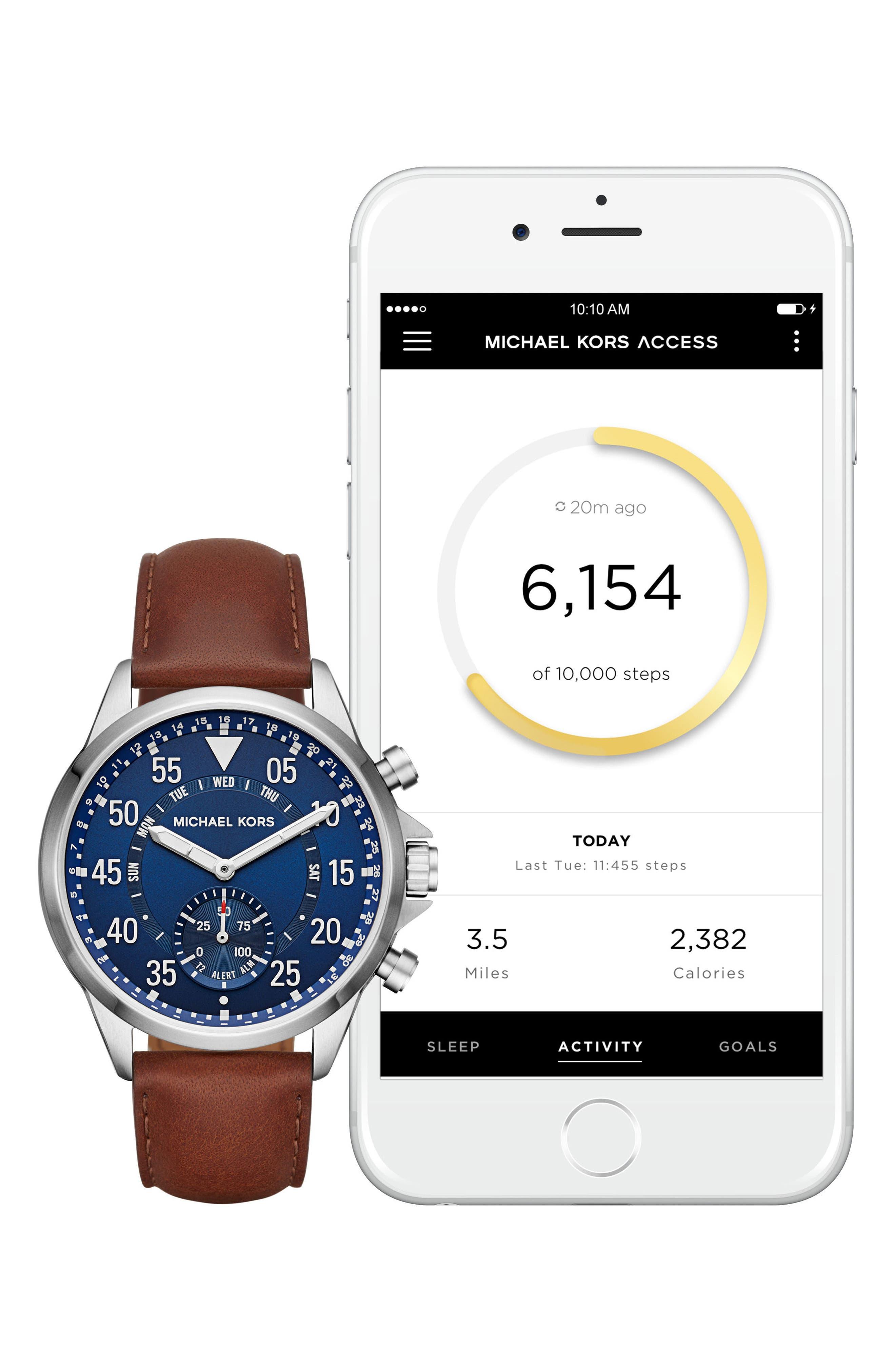Alternate Image 4  - Michael Kors Gage Leather Strap Smart Watch, 45mm