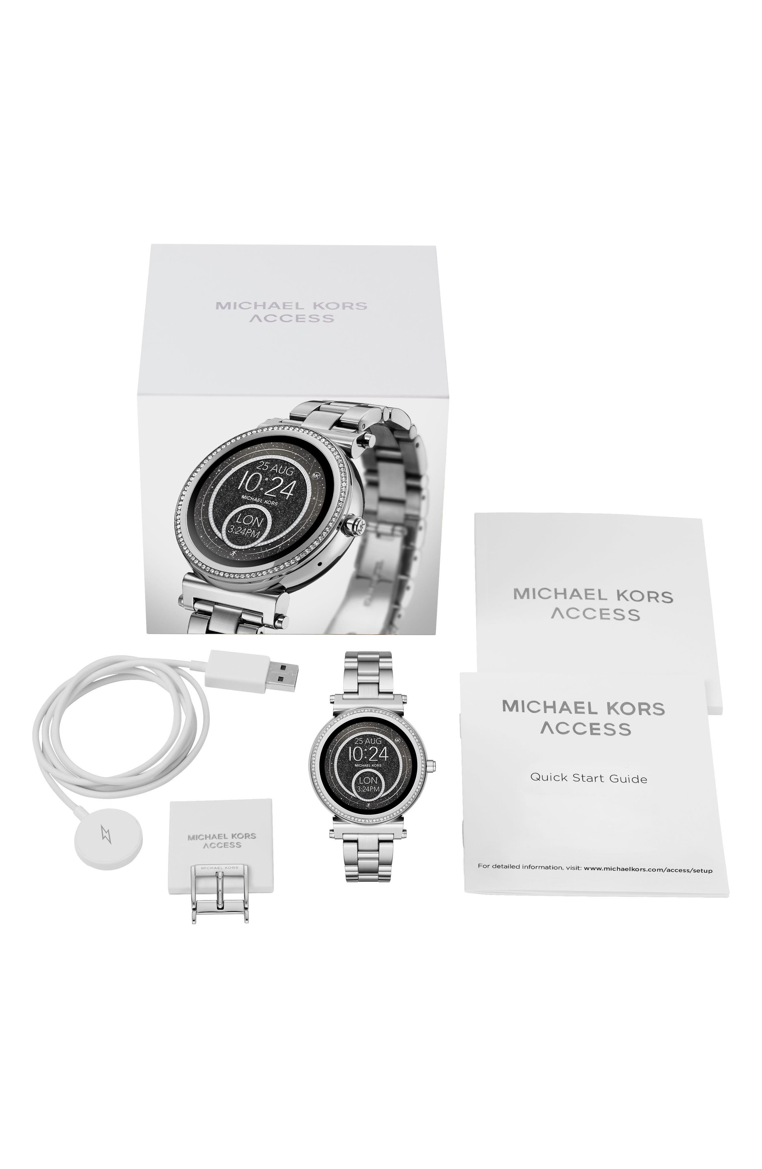 Sofie Smart Bracelet Watch, 42mm,                             Alternate thumbnail 4, color,                             Silver/ Black/ Silver