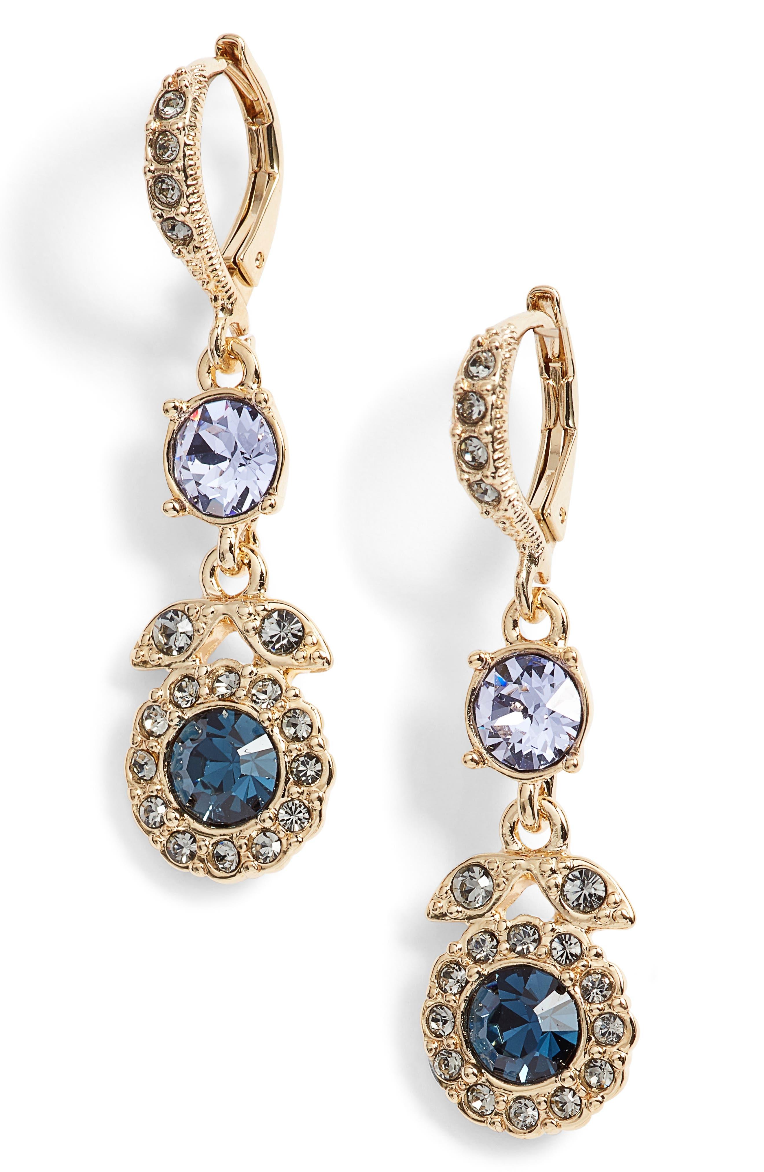 Crystal Drop Earrings,                         Main,                         color, Blue Multi/ Gold