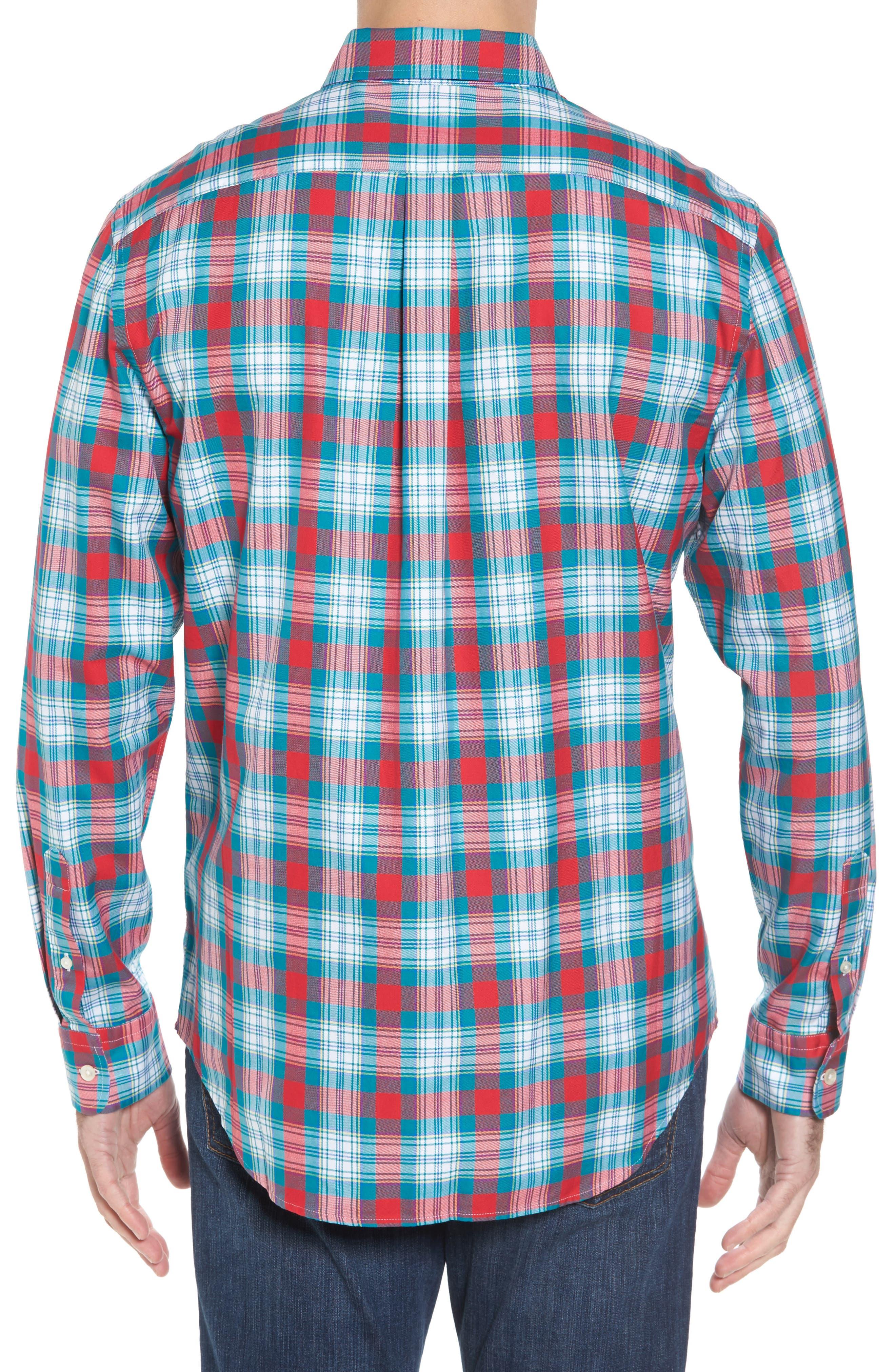 Elmwood Classic Fit Plaid Sport Shirt,                             Alternate thumbnail 2, color,                             Cape Teal