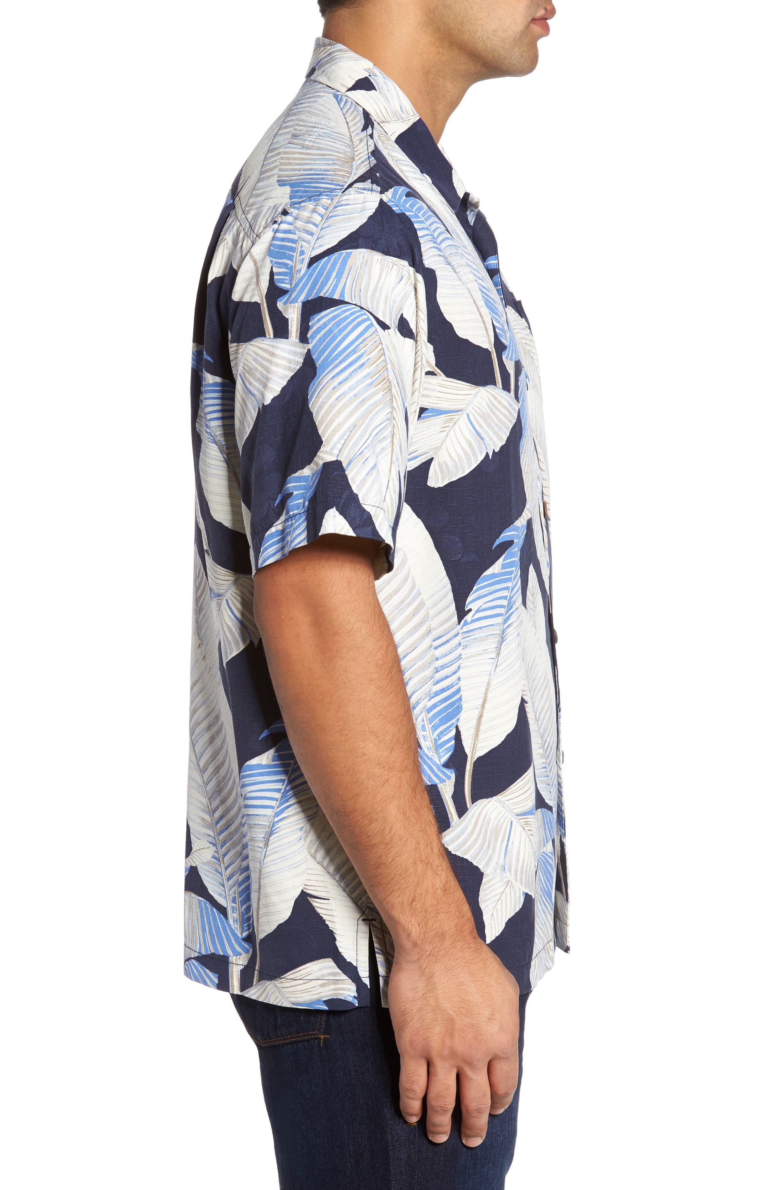 Cascara Fronds Silk Camp Shirt,                             Alternate thumbnail 3, color,                             Ocean Deep