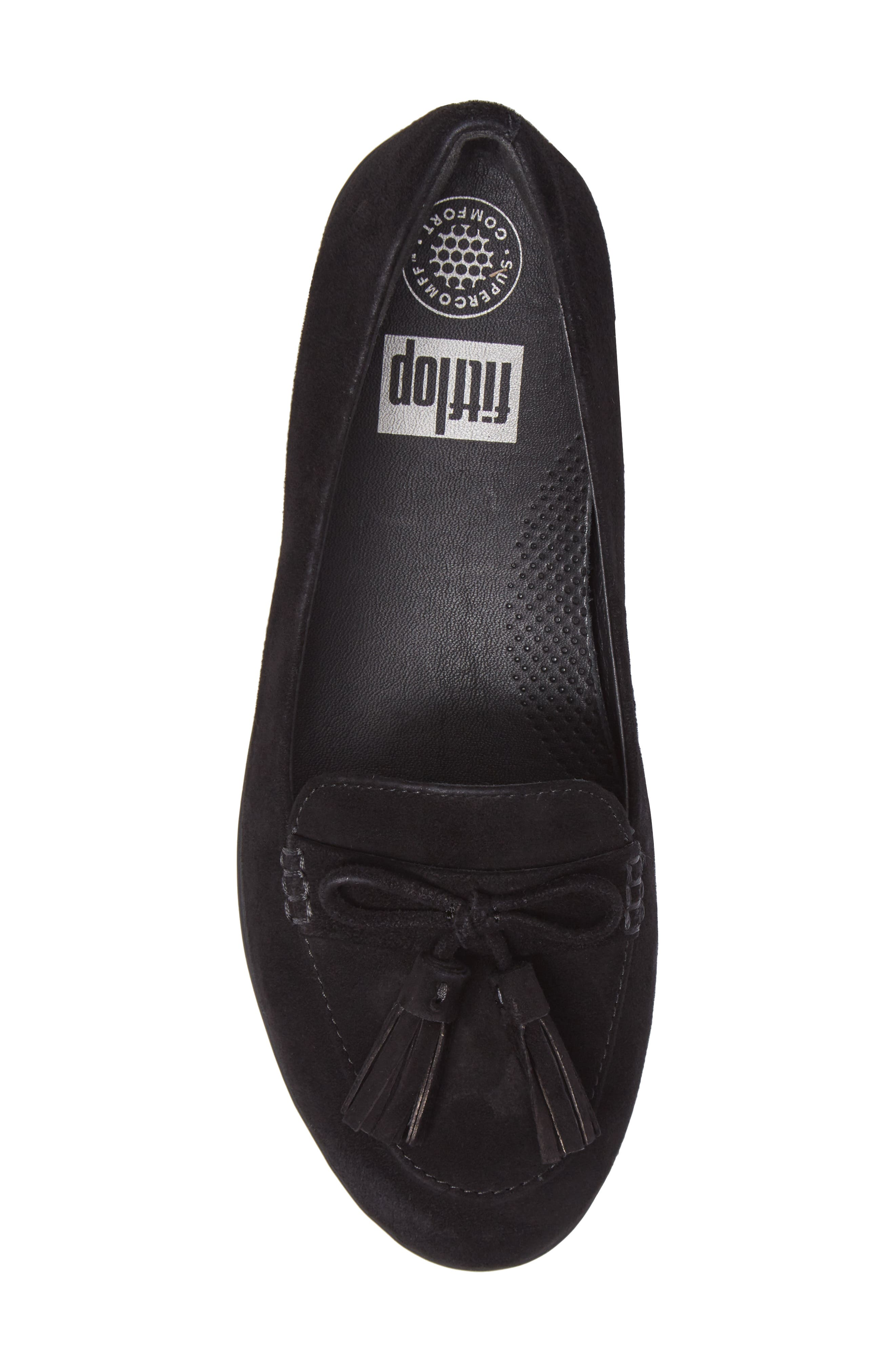 Tassel Bow Sneakerloafer<sup>™</sup> Water Repellent Flat,                             Alternate thumbnail 5, color,                             All Black
