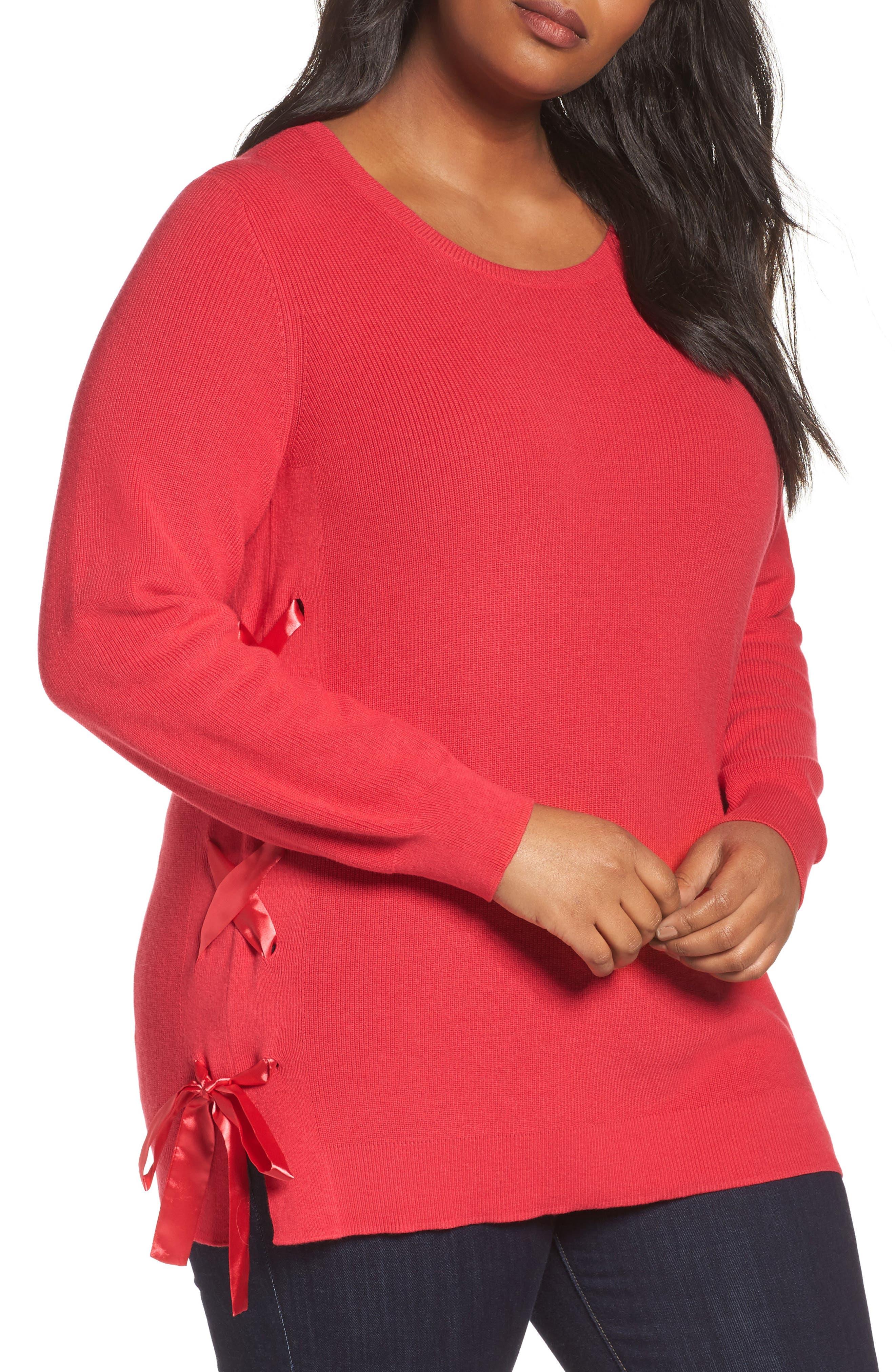 Sejour Lace-Up Pullover (Plus Size)