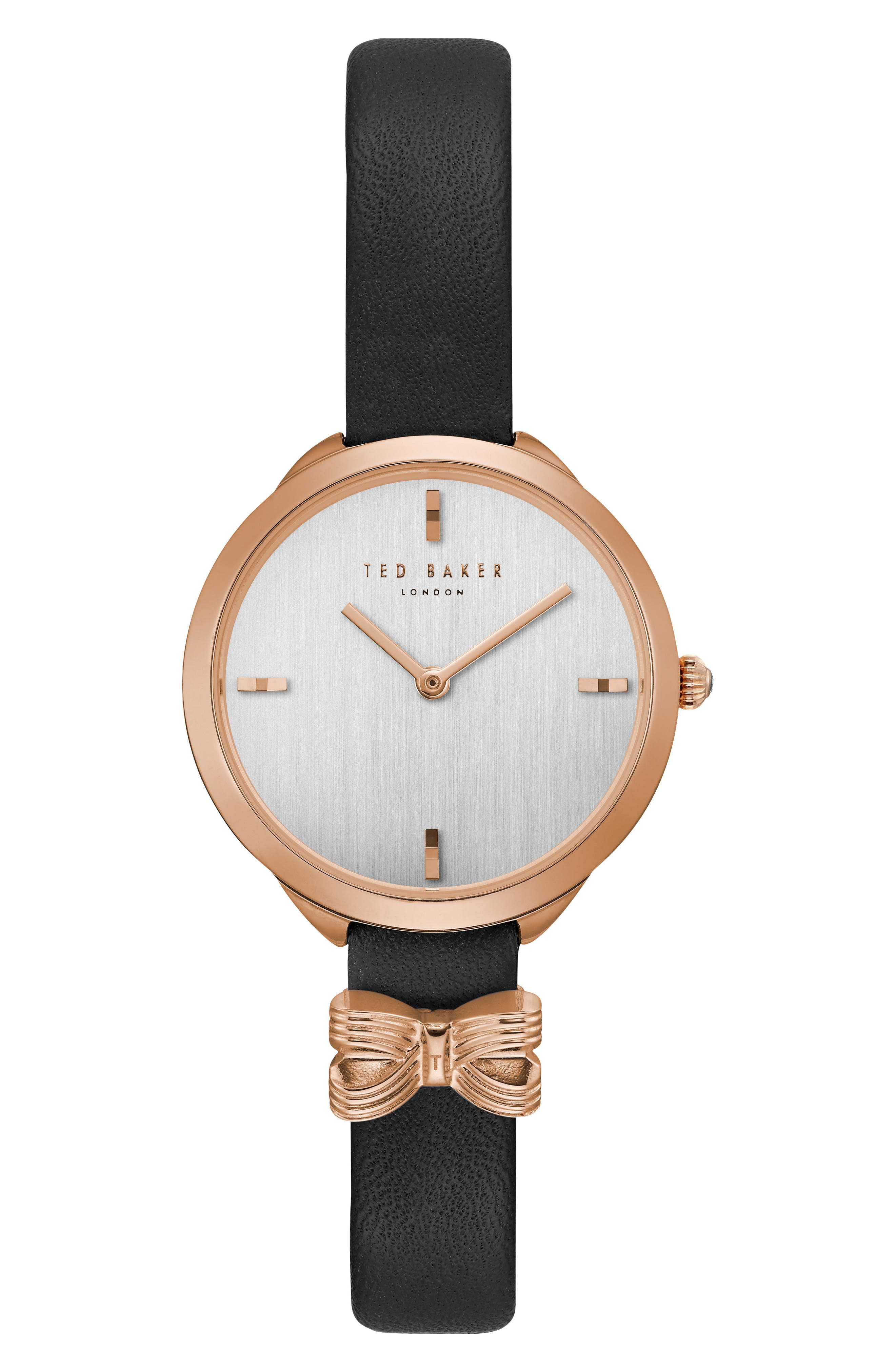 Elana Leather Strap Watch, 30mm,                         Main,                         color, Black/ Silver/ Rose Gold
