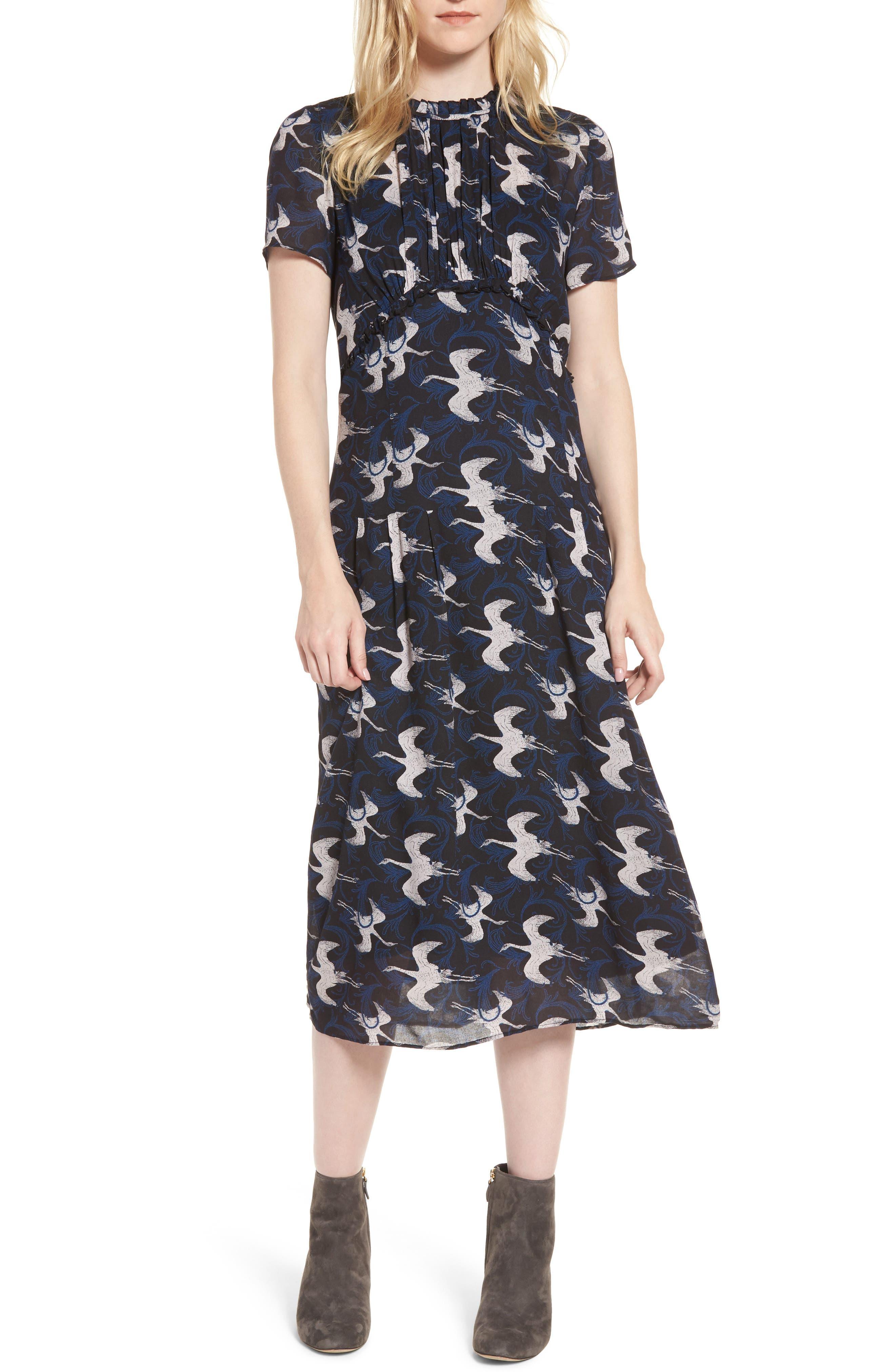 Shirred Midi Dress,                         Main,                         color, Grey Phantom Outline Cranes