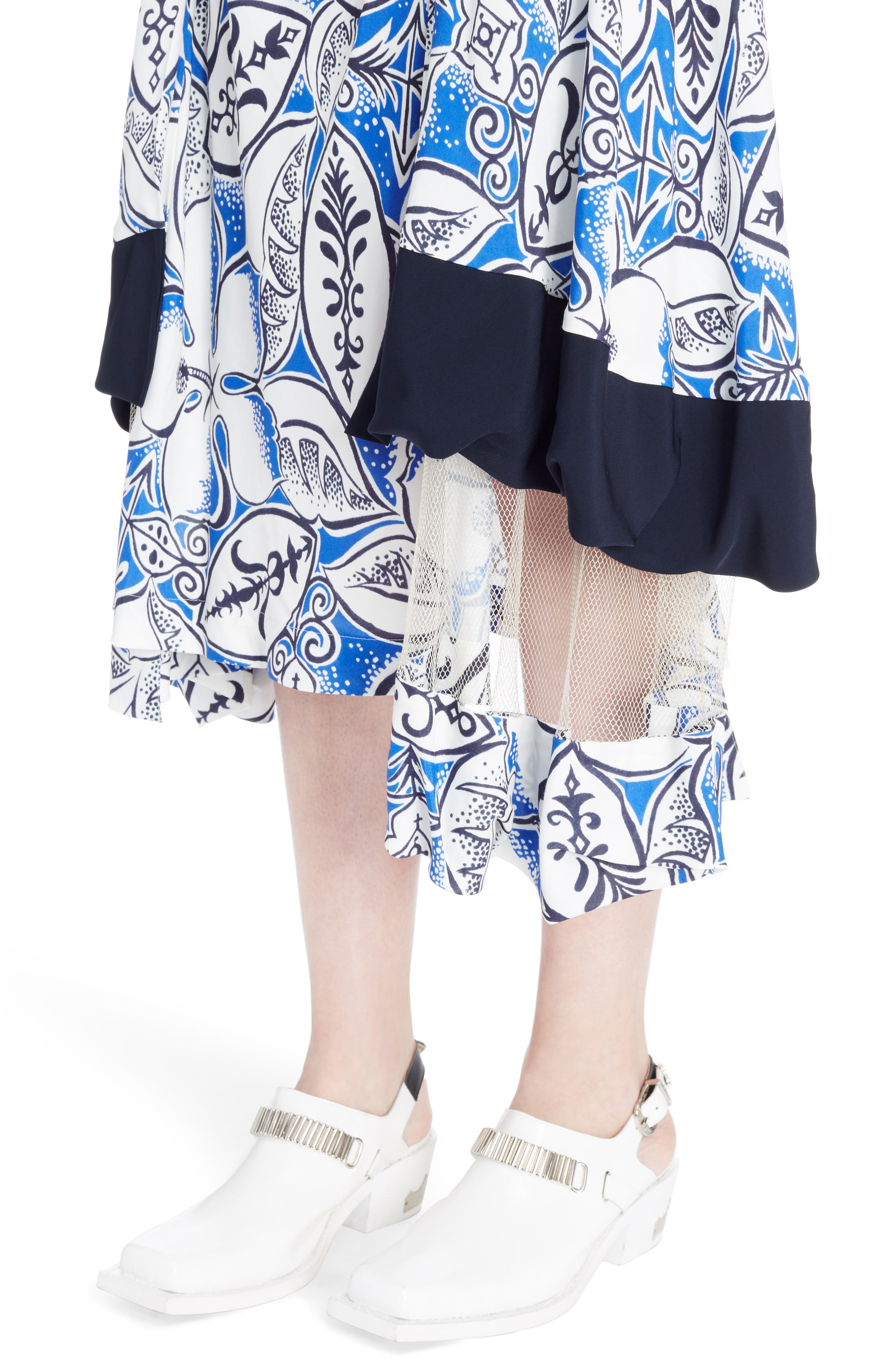 Print Tiered Skirt with Mesh Insets,                             Alternate thumbnail 4, color,                             Blue