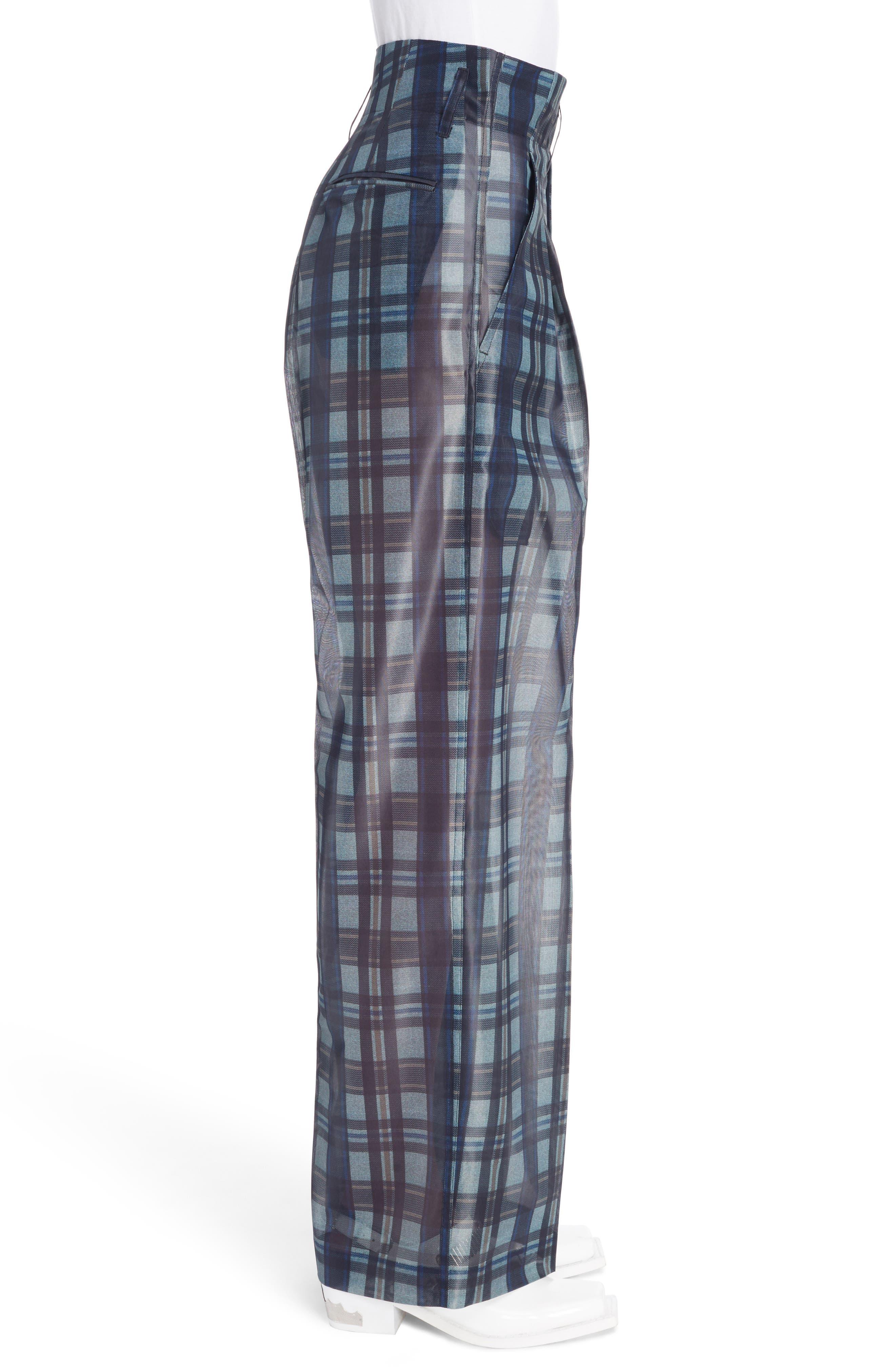 Plaid Mesh Pants,                             Alternate thumbnail 3, color,                             Gray