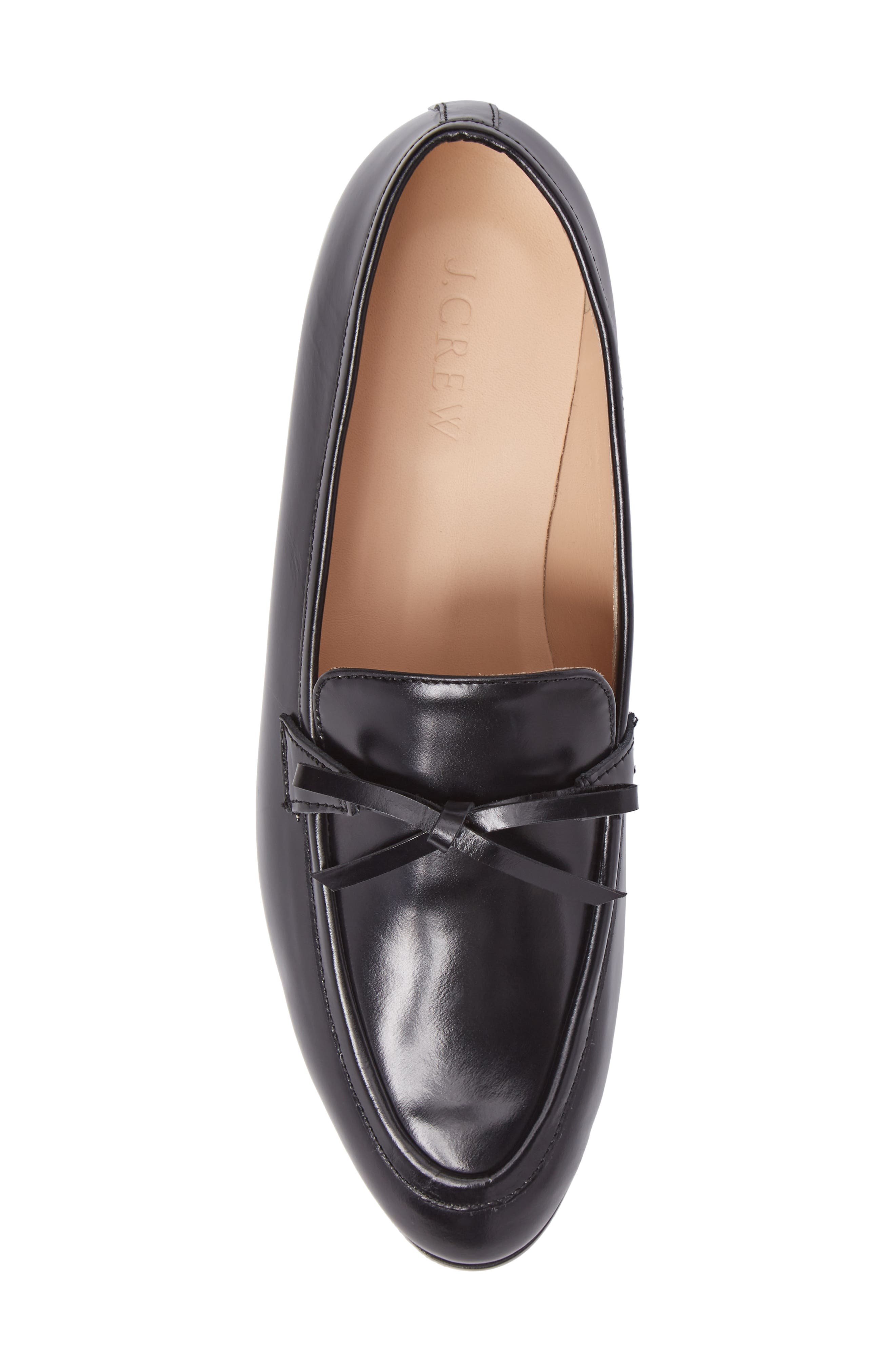 Bow Loafer,                             Alternate thumbnail 5, color,                             Black Leather