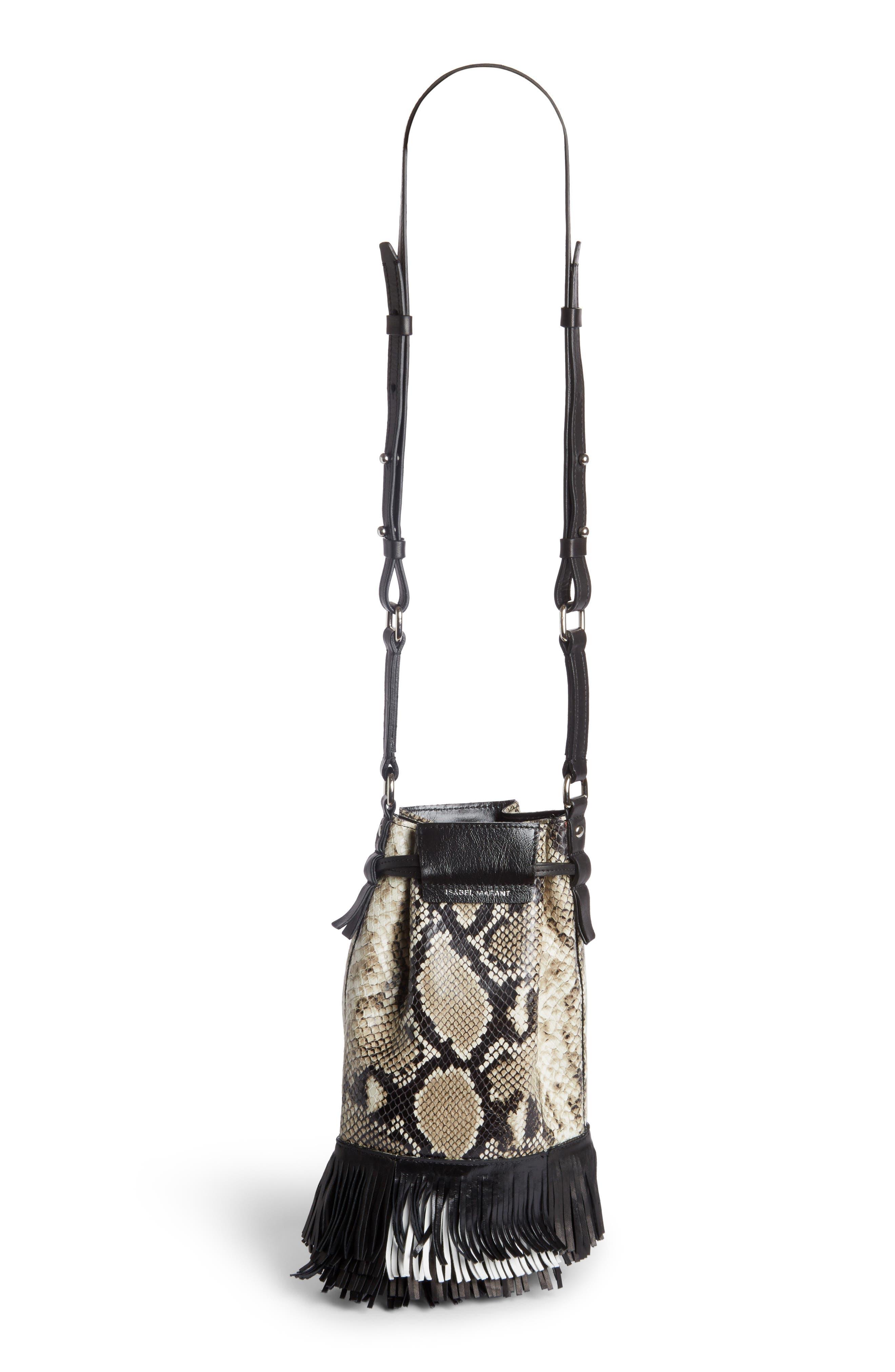 Askiah Fringed Snake Embossed Leather Crossbody Bag,                             Alternate thumbnail 2, color,                             Beige/ Dore