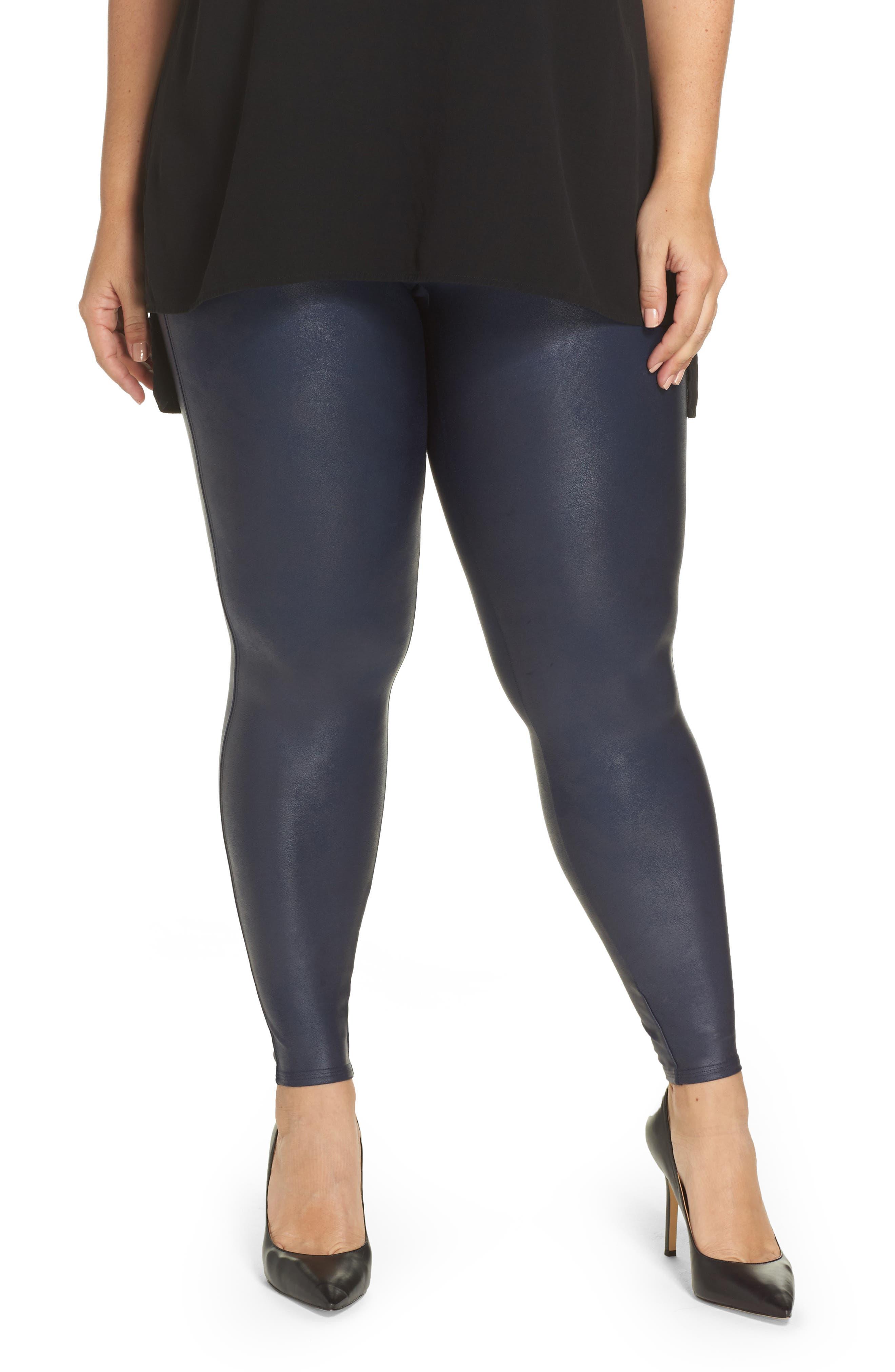 Main Image - SPANX® Faux Leather Leggings (Plus Size)