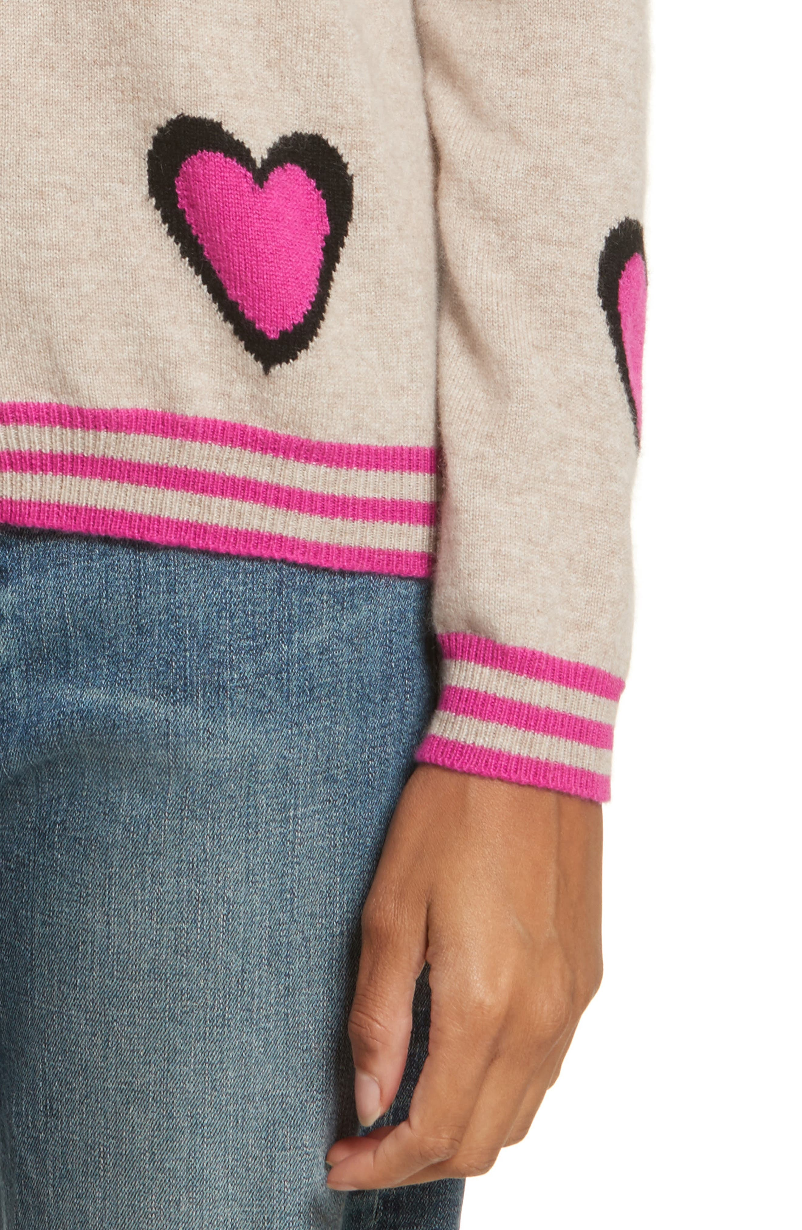 CHINTI & PARKER Heart Burst Cashmere Sweater,                             Alternate thumbnail 4, color,                             Oatmeal/ Black/ Fuchsia