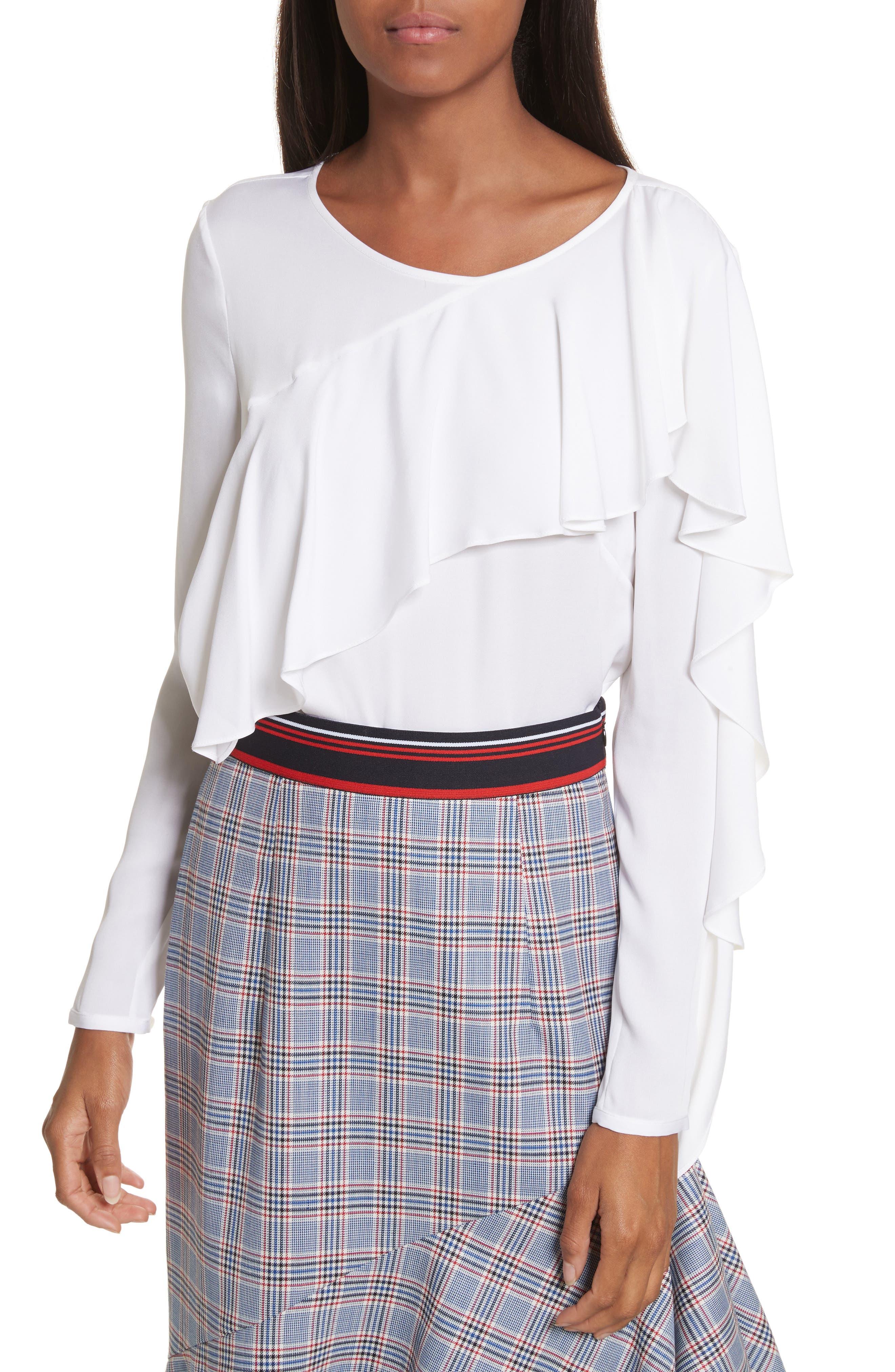 Stretch Silk Ruffle Top,                         Main,                         color, White