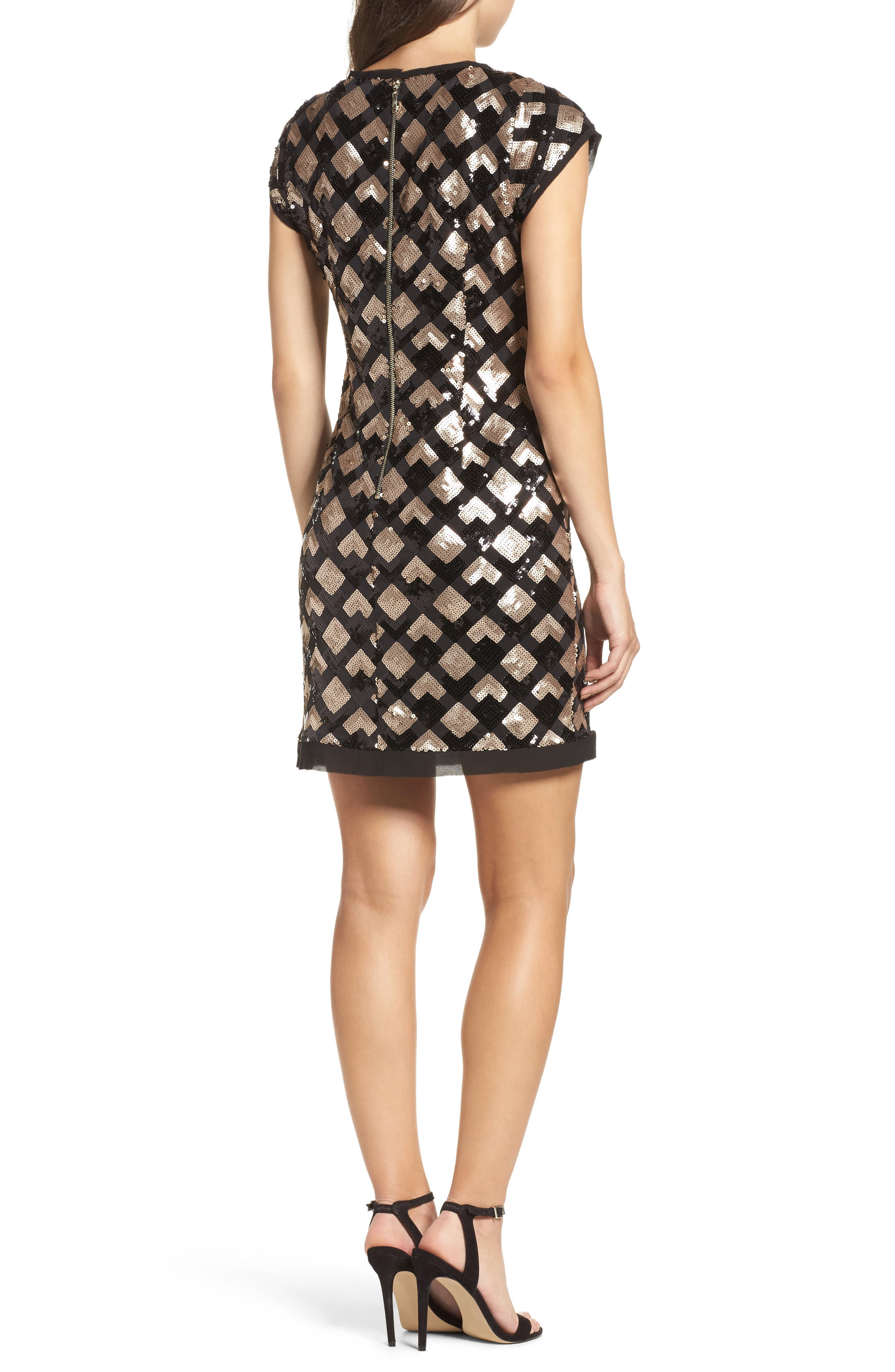 Sequin Sheath Dress,                             Alternate thumbnail 2, color,                             Black/ Champagne