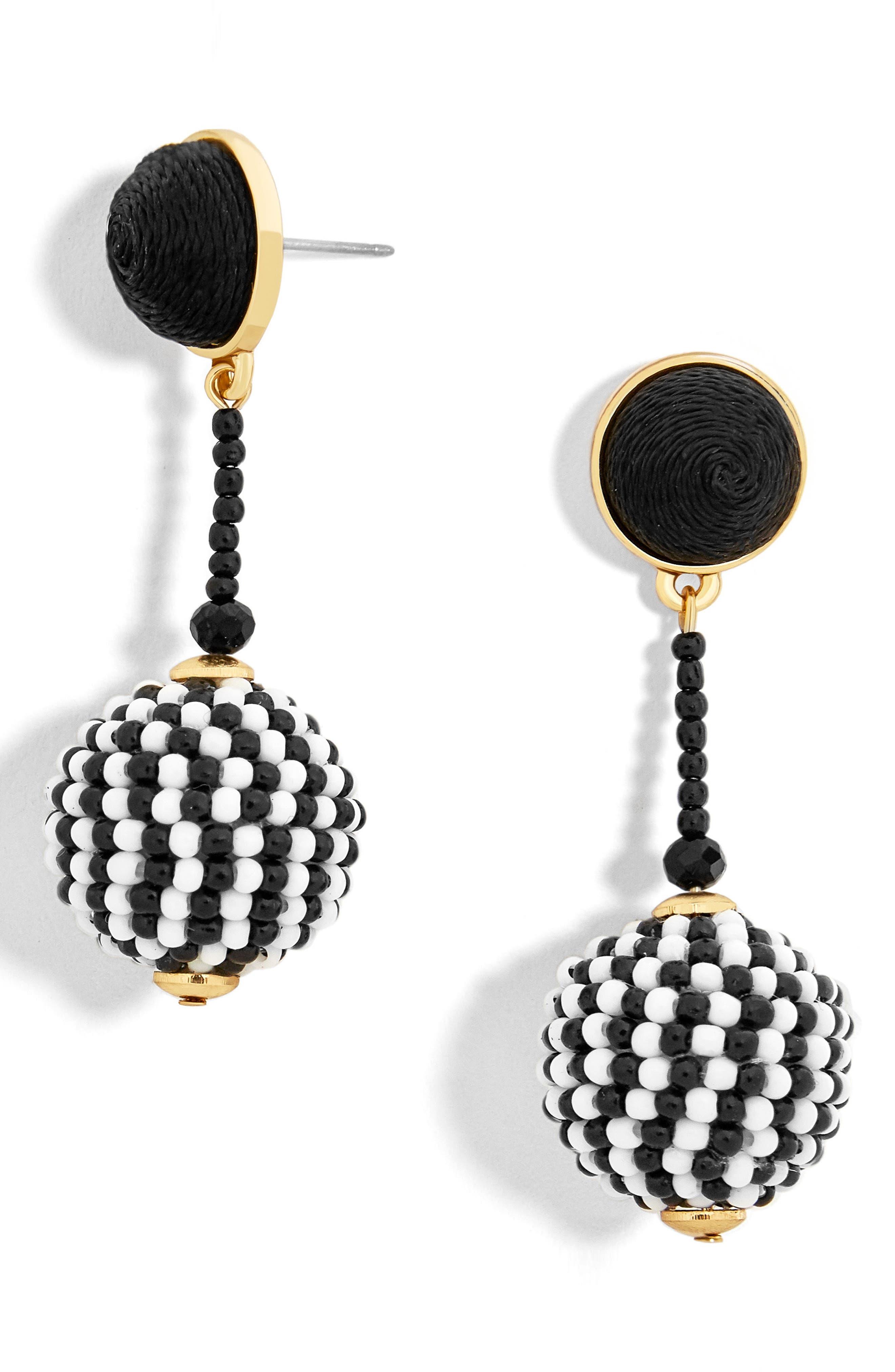 Emalina Ball Drop Earrings,                             Main thumbnail 1, color,                             Black