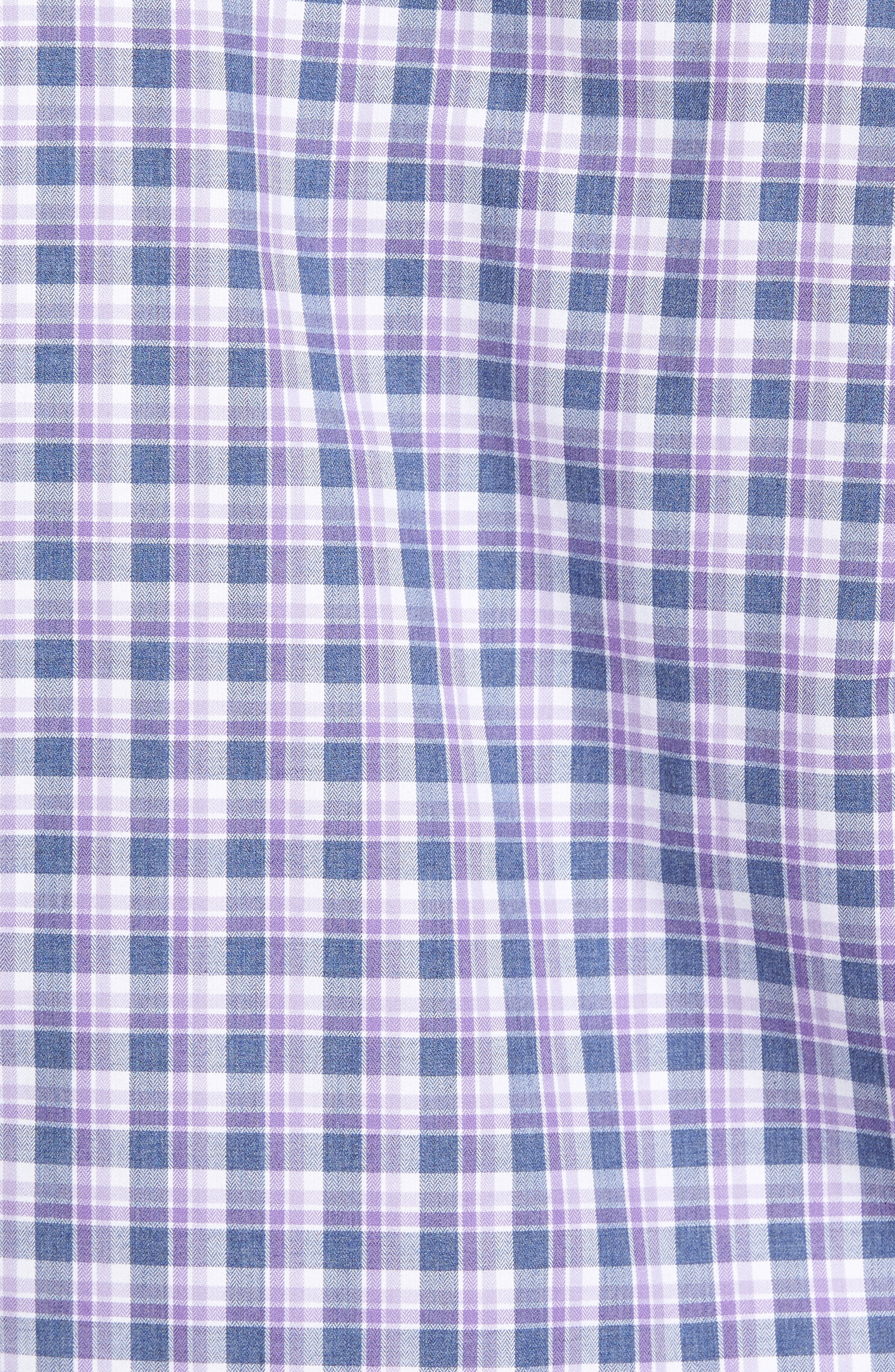 Plaid Herringbone Sport Shirt,                             Alternate thumbnail 5, color,                             Blue/ Purple