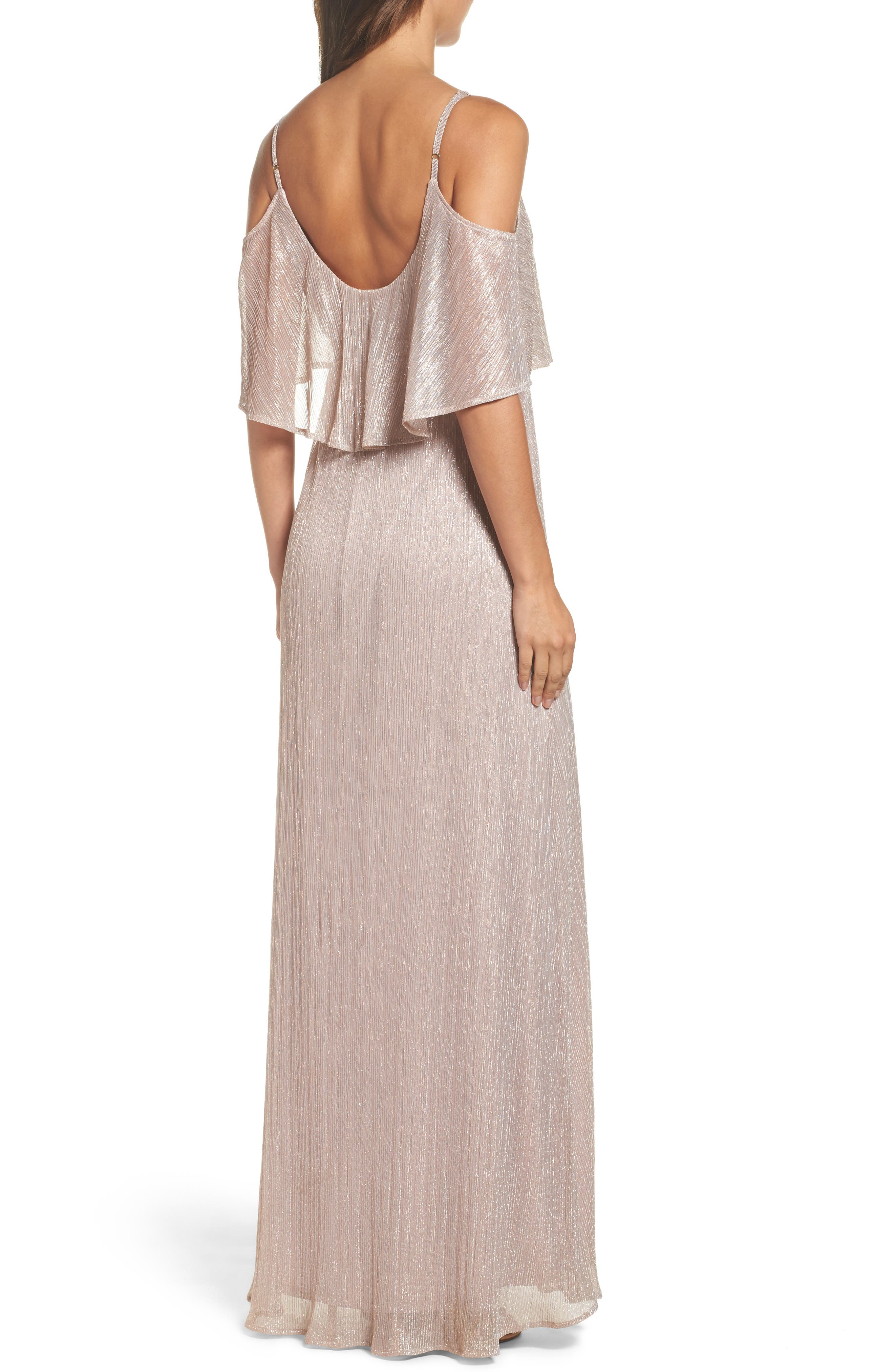 Caitlin Ruffle Maxi Dress,                             Alternate thumbnail 2, color,                             Magic Muave Glitter