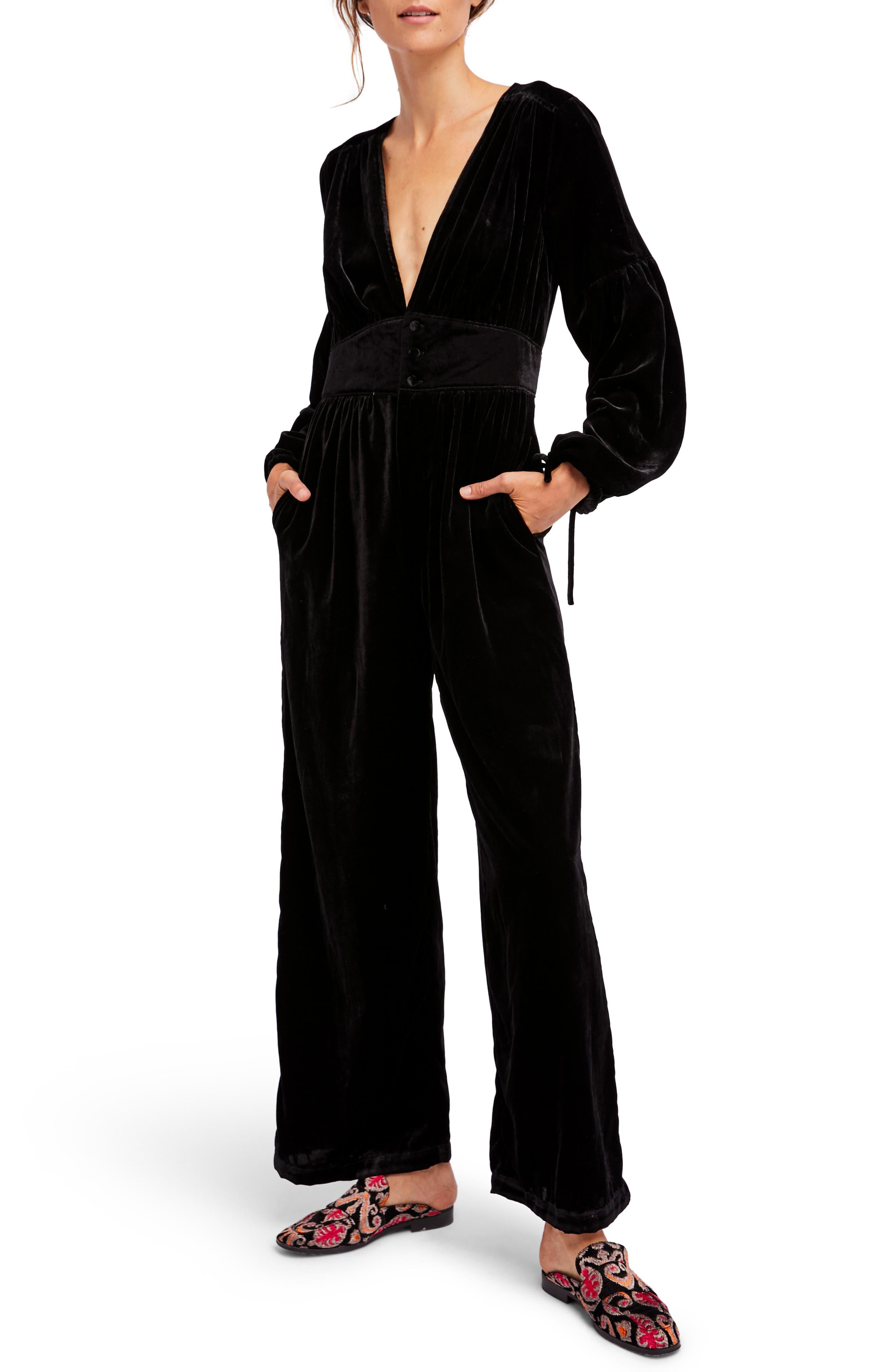 True Lovin Velvet Jumpsuit,                             Main thumbnail 1, color,                             Black