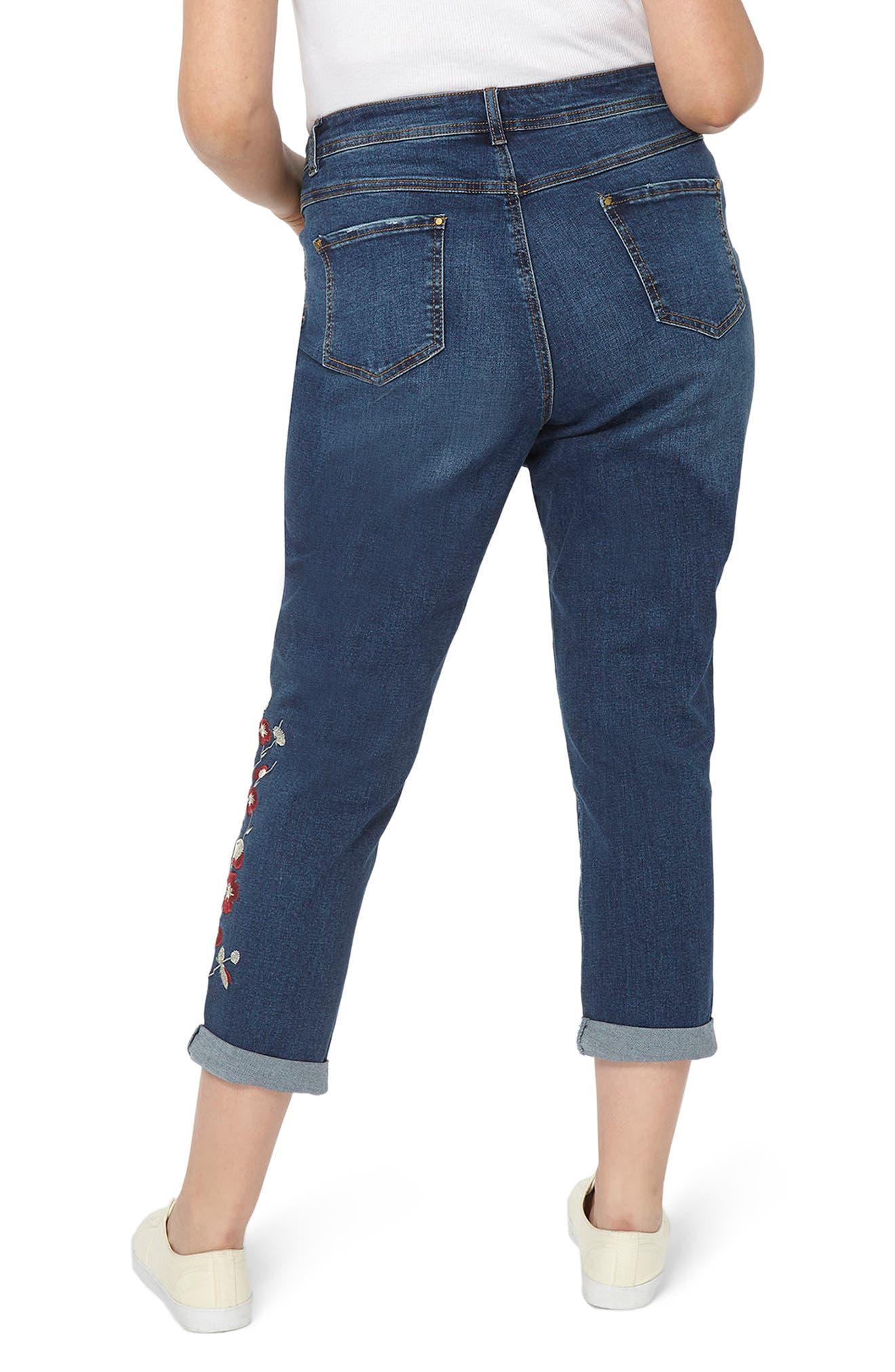 Alternate Image 3  - Evans Embroidered Crop Boyfriend Jeans (Plus Size)